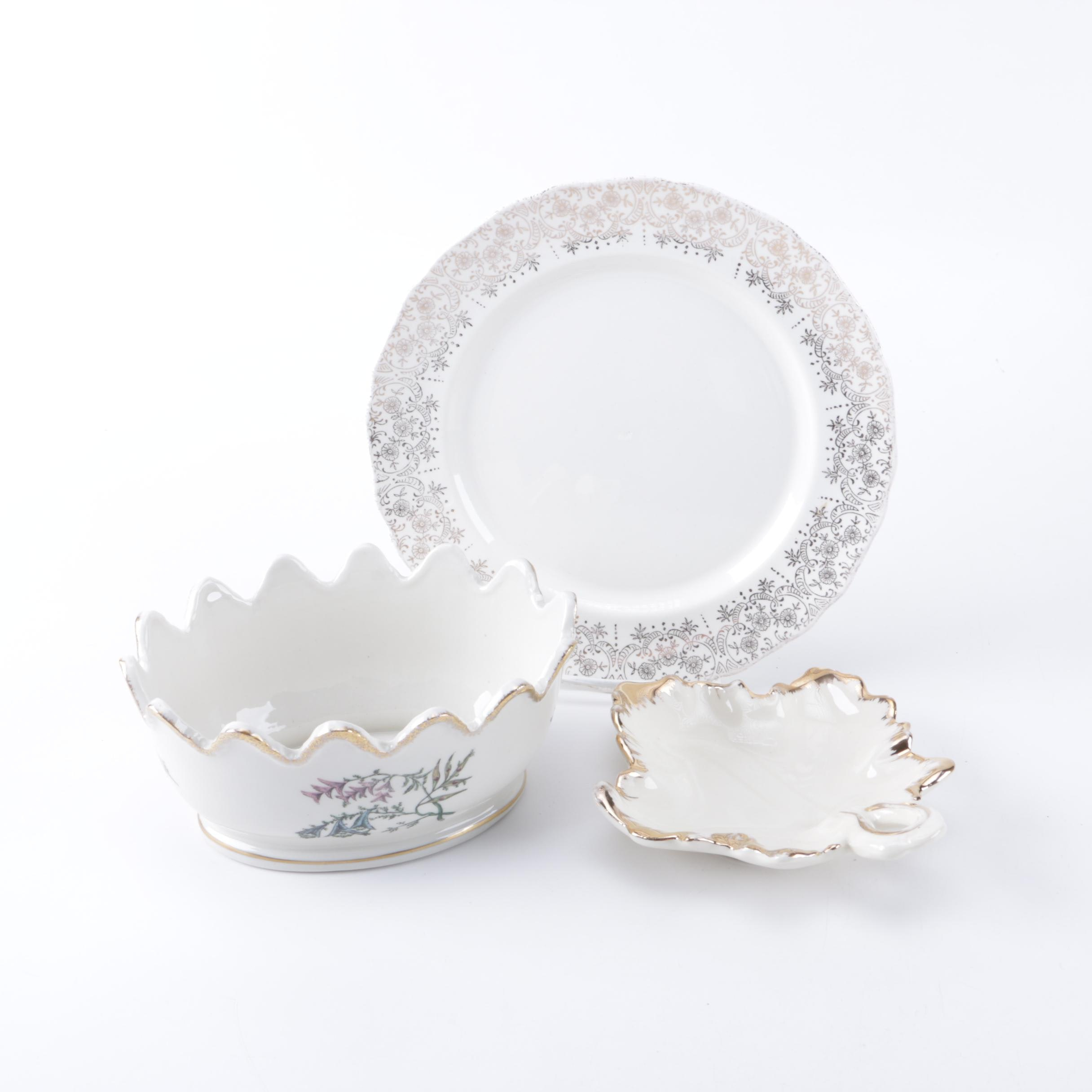 Collection of Decorative White Ceramic Dishes