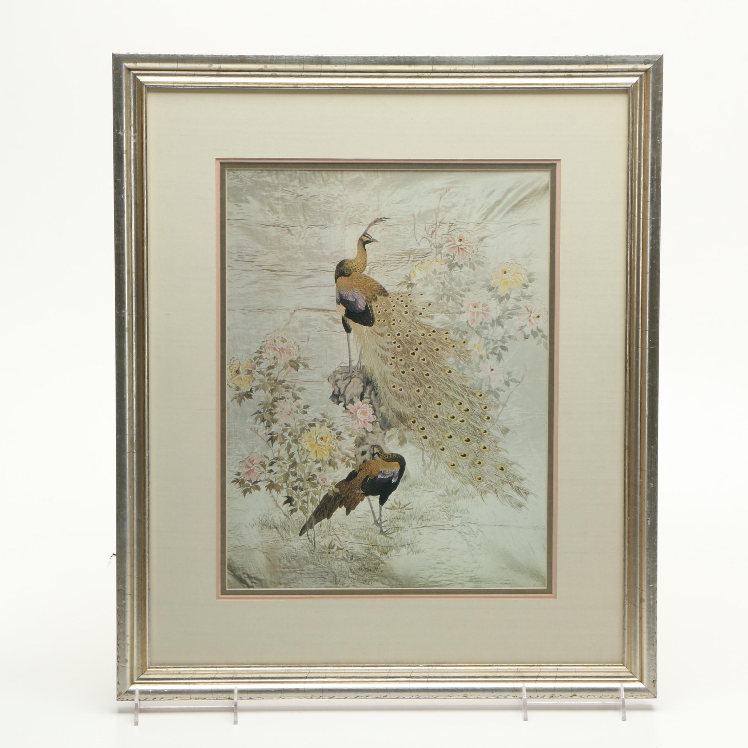 "Reproduction Print of Chinese Wall Hanging ""Peacocks and Peonies"""