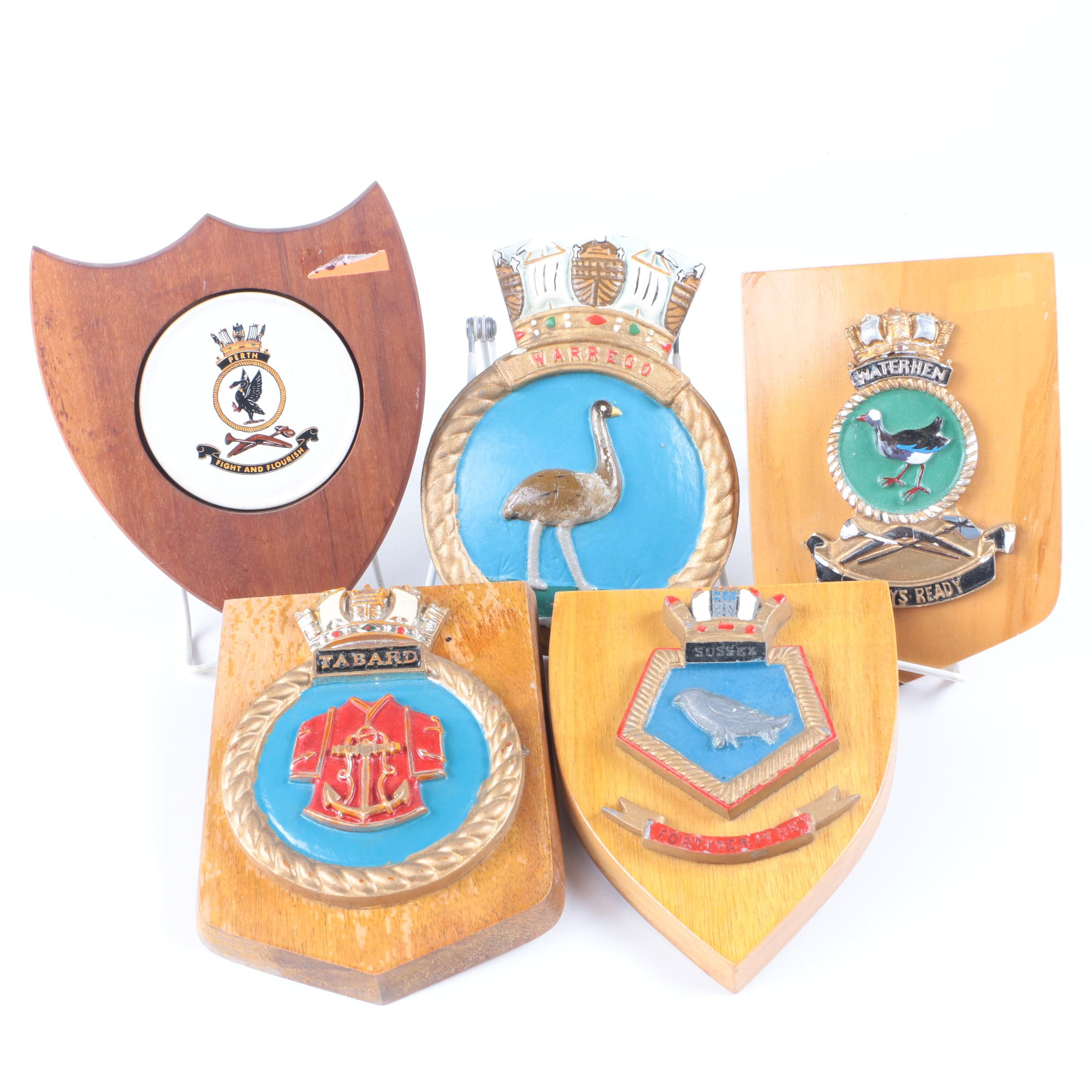Australian and English Navy Ship's Crest Wall Plaques