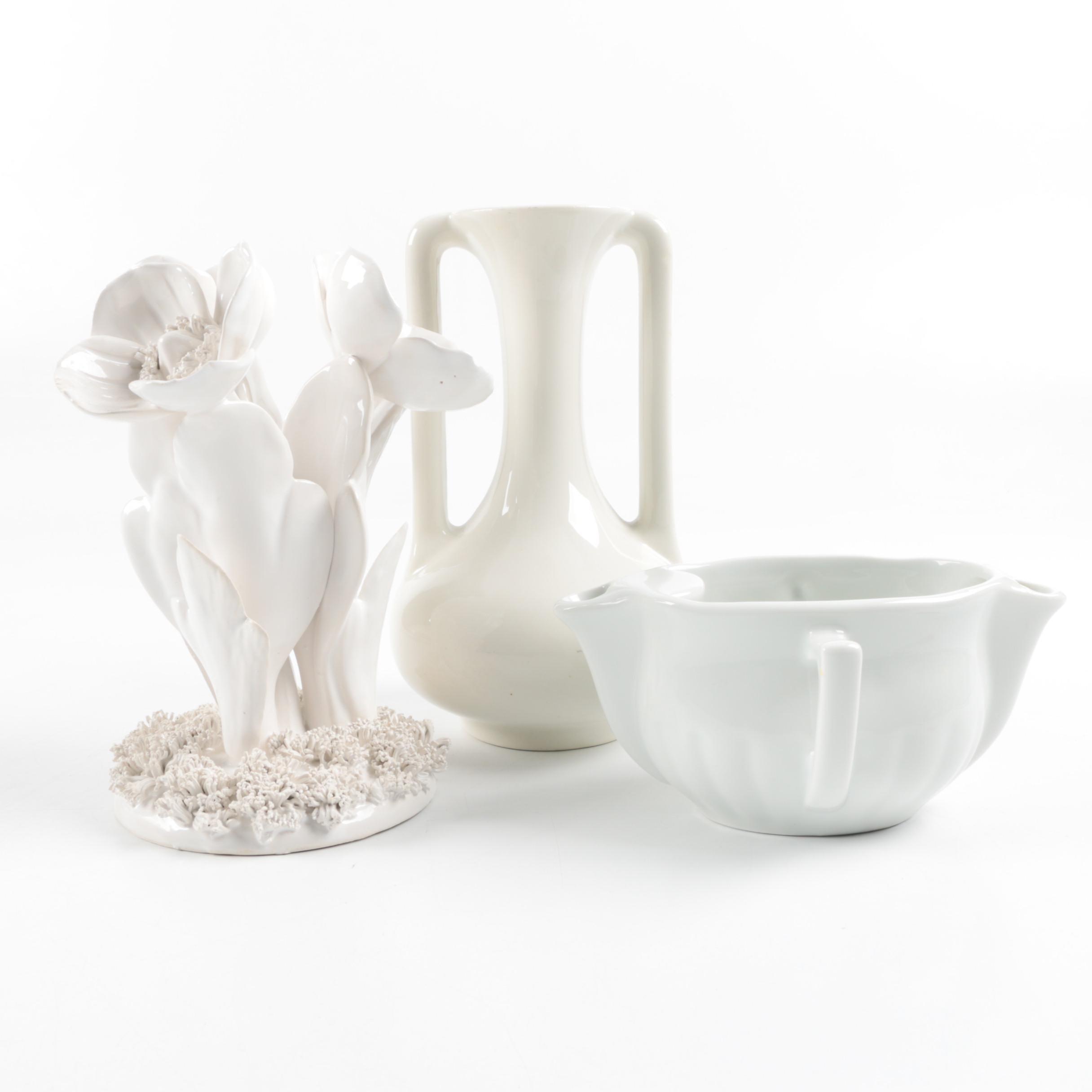 Set of White Ceramic Decor