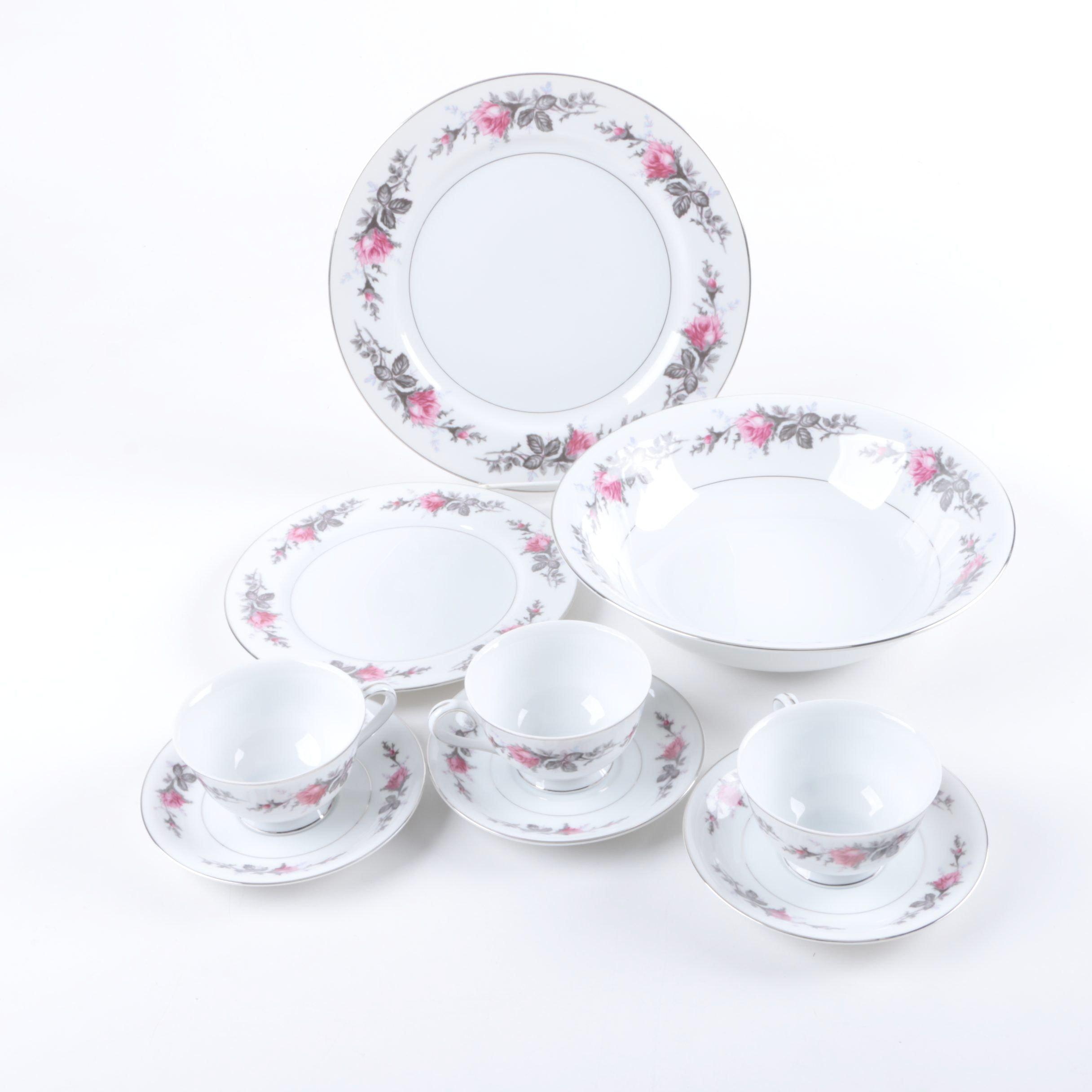 """Vintage Kyoto """"Silverose"""" Porcelain Tableware"""