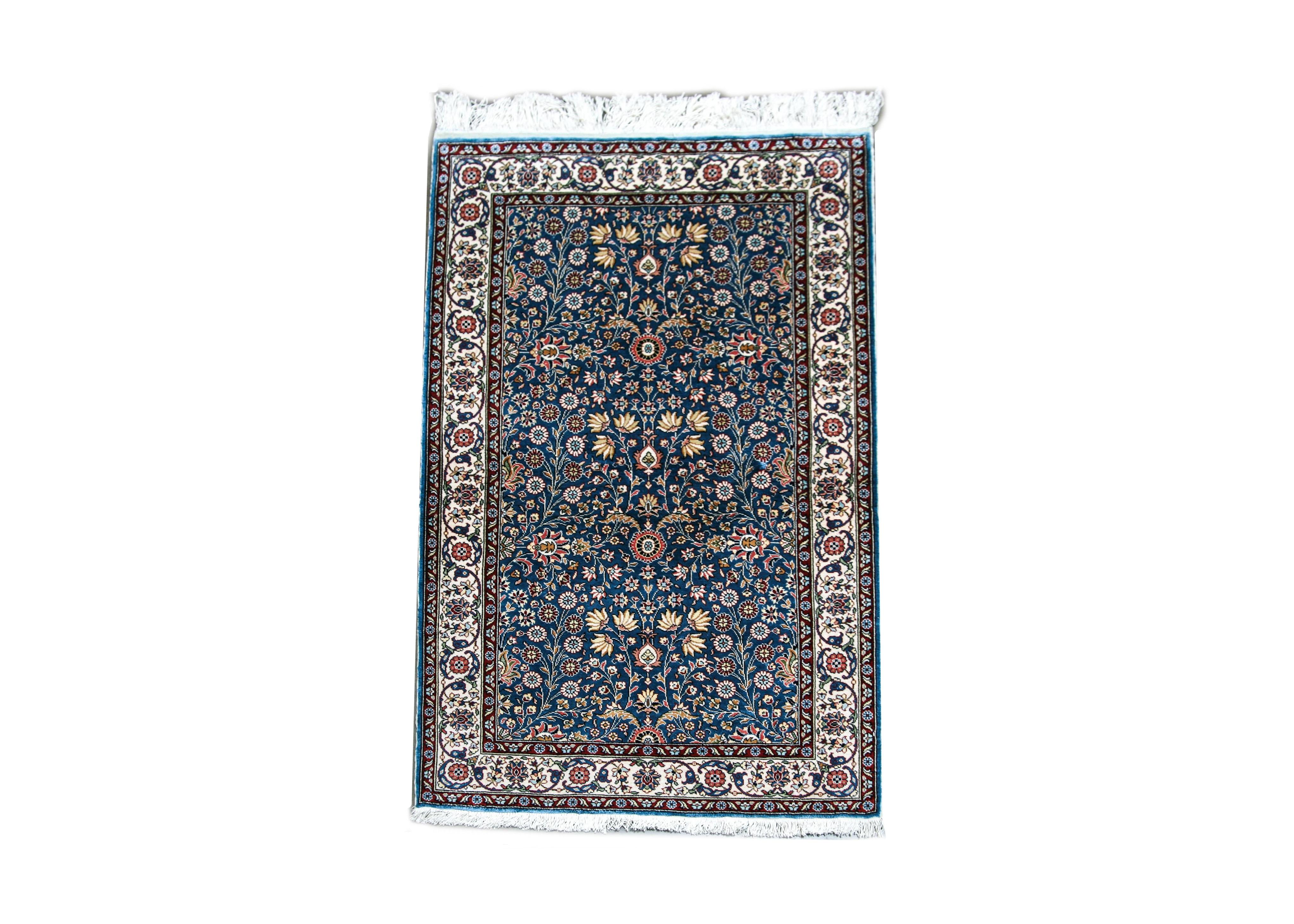 Hand-Knotted Turkish Kayseri Silk on Silk Accent Rug