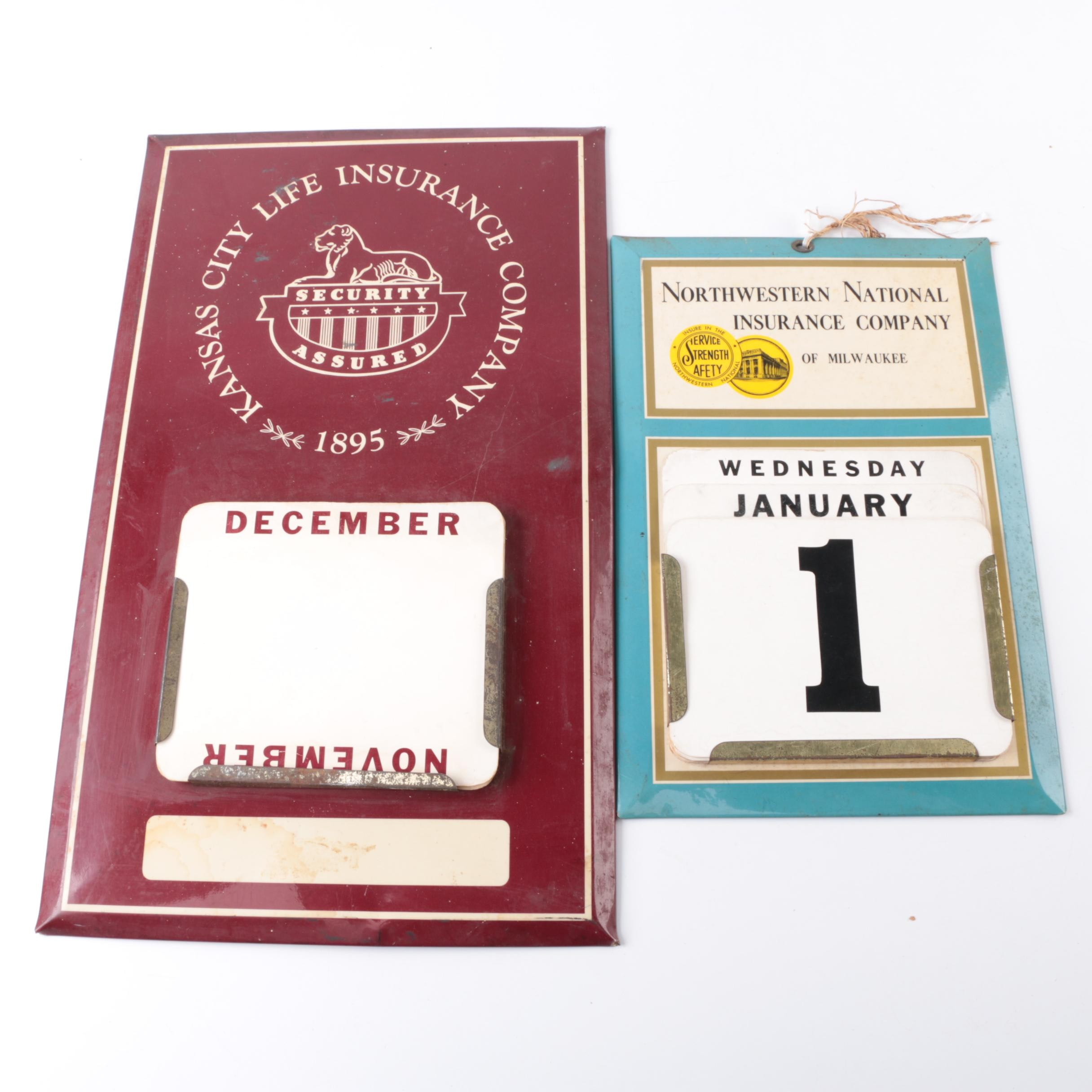 Vintage Insurance Company Metal Hanging Wall Calendars