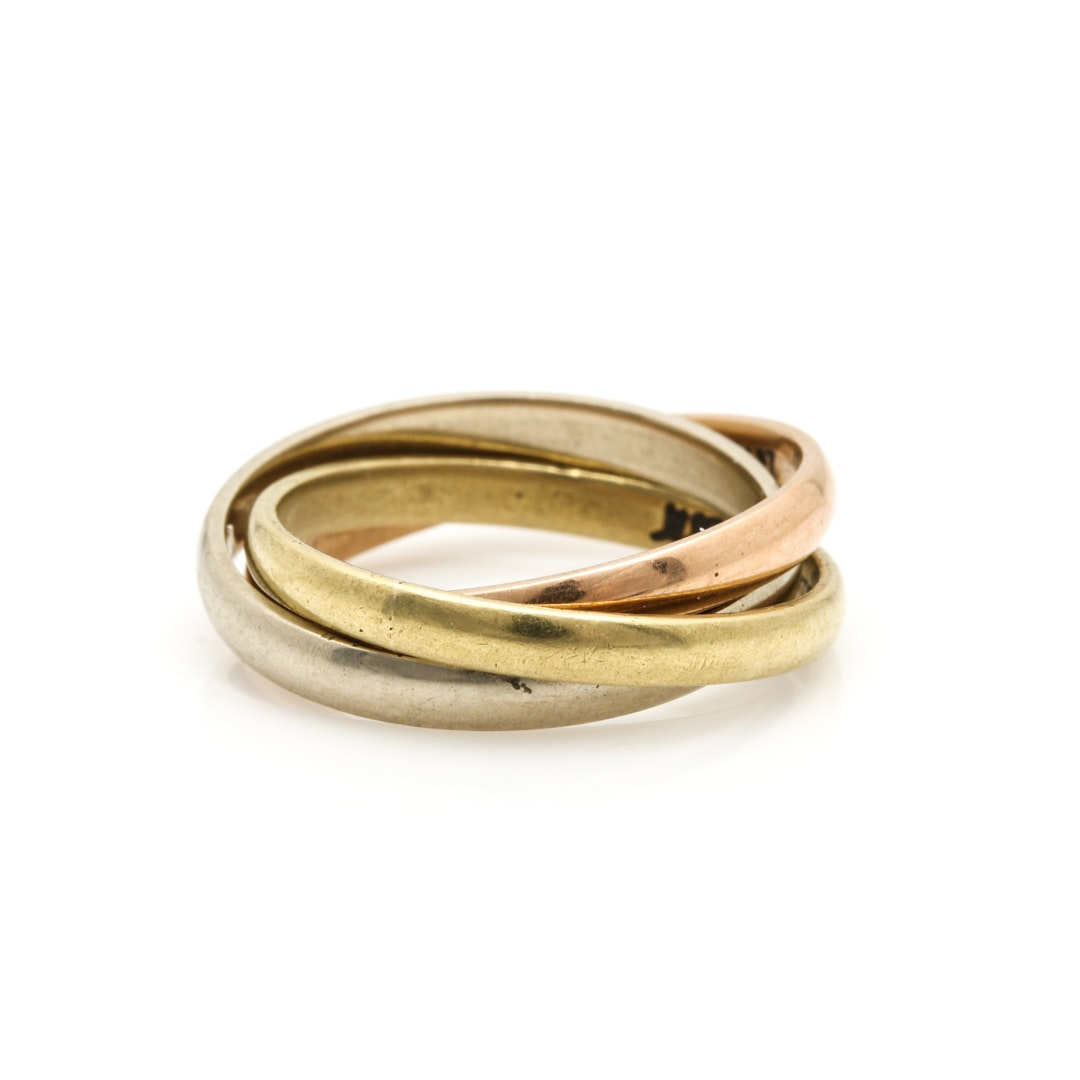 Cartier 18K Tri Gold Rolling Ring