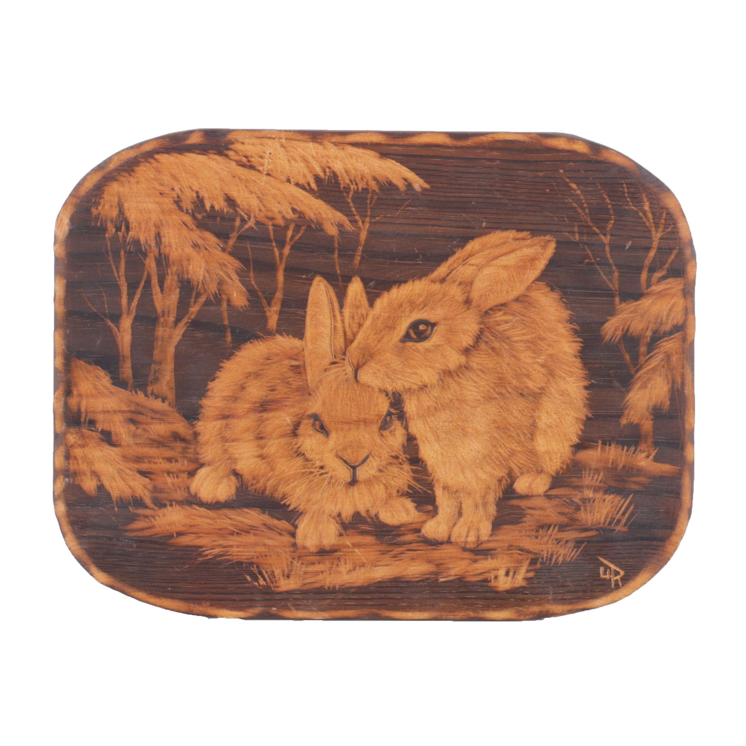 Ursula Trieschmann Carved Rabbit Plaque