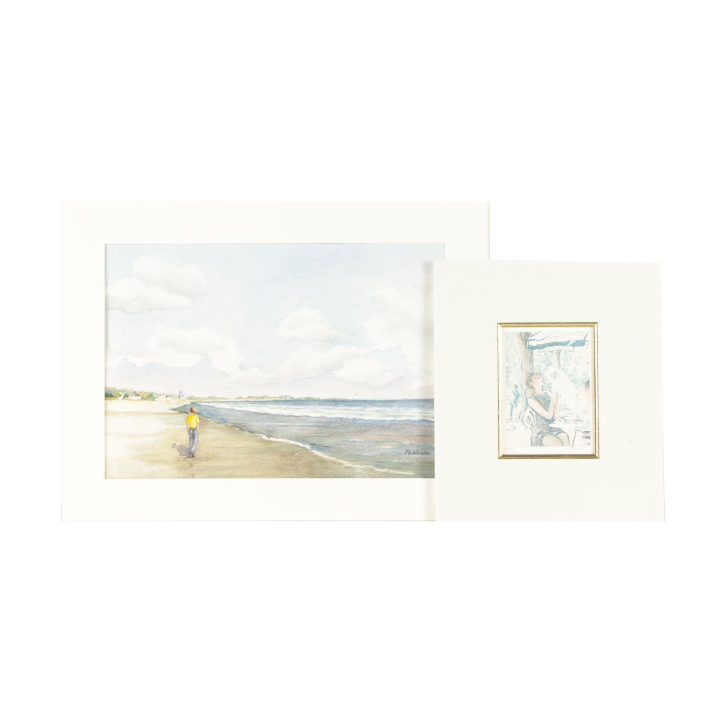 Limited Edition Lithograph with McWhirter Watercolor of Beach