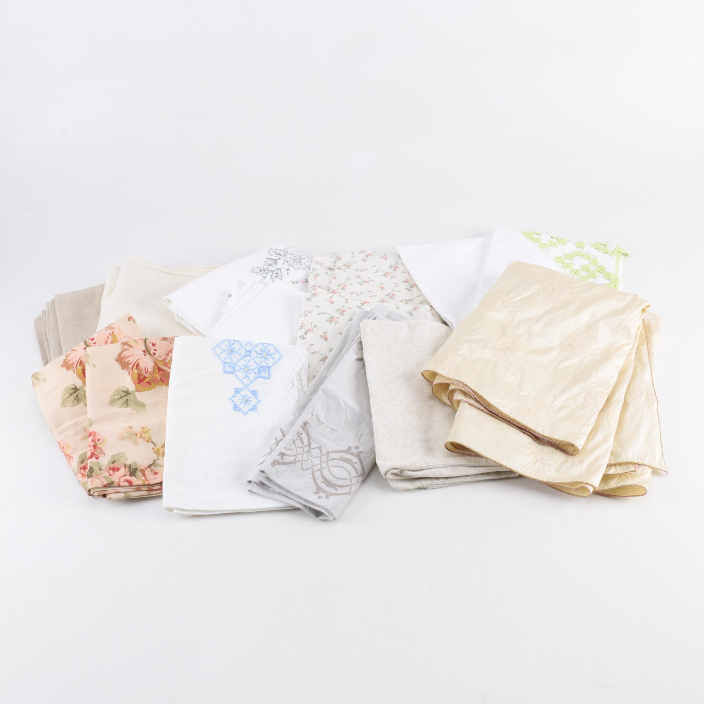 Vintage Pillowcases and other Bed Linens