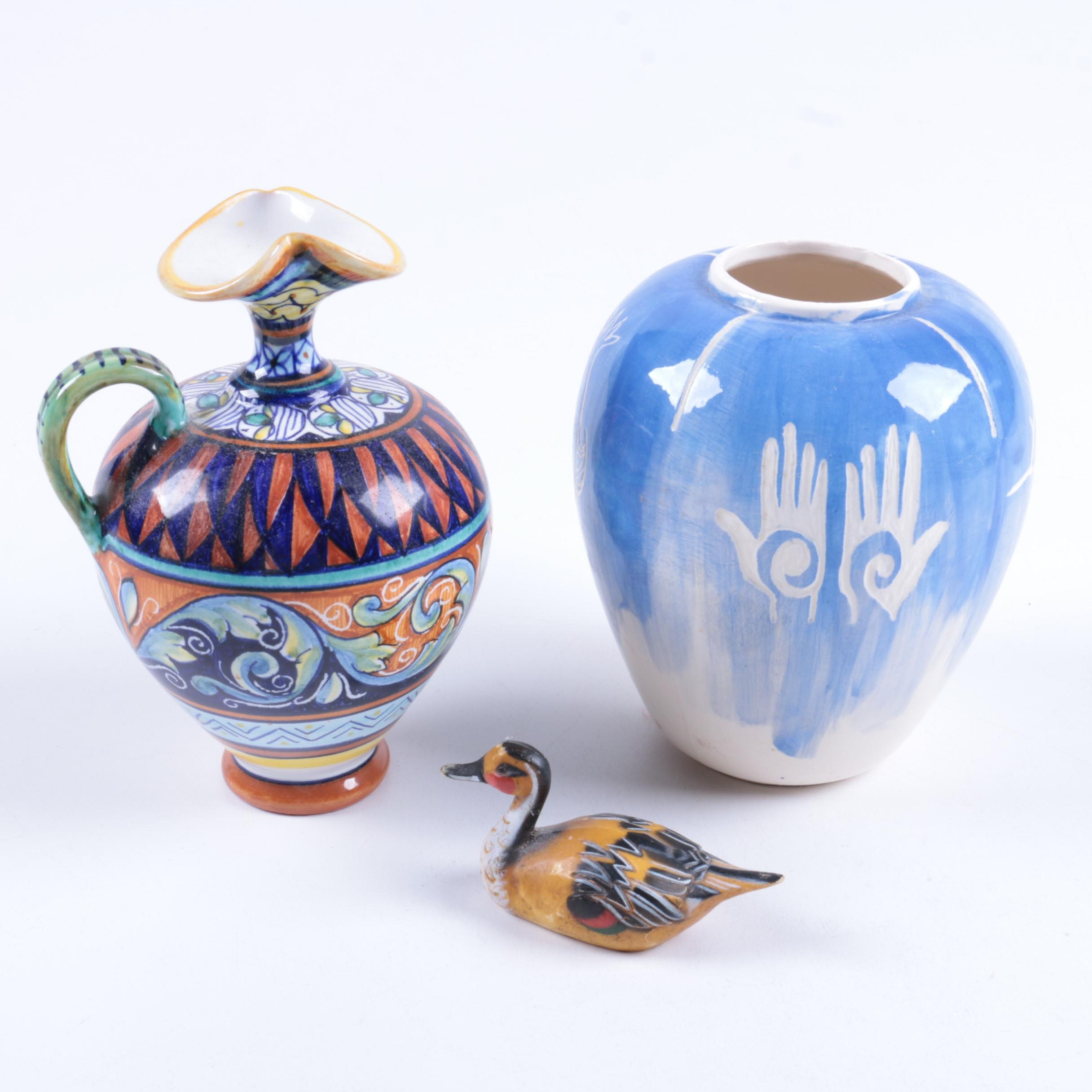 Ceramic Pitcher, Vase, and Resin Duck Figurine