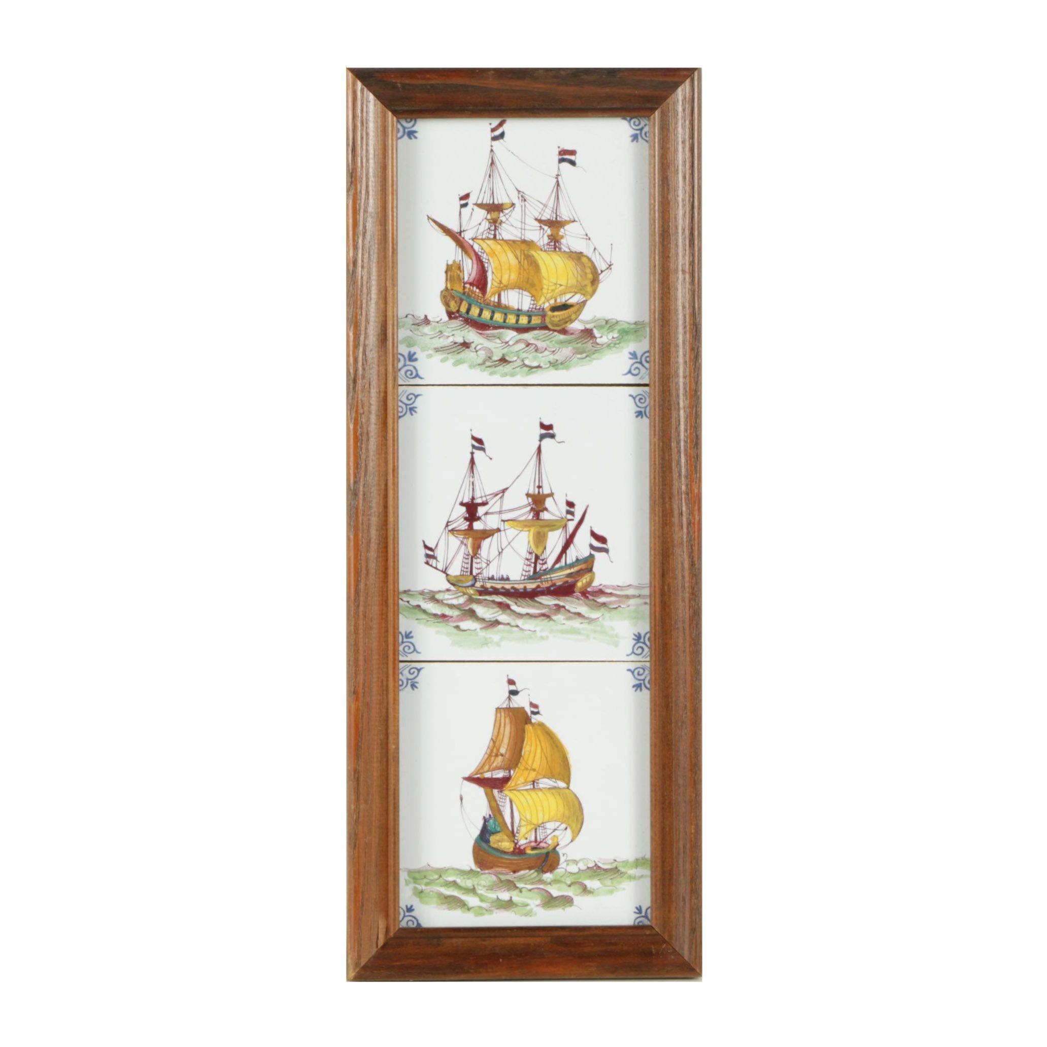 Embellished Illustrations of Sailing Ships on Ceramic Tile