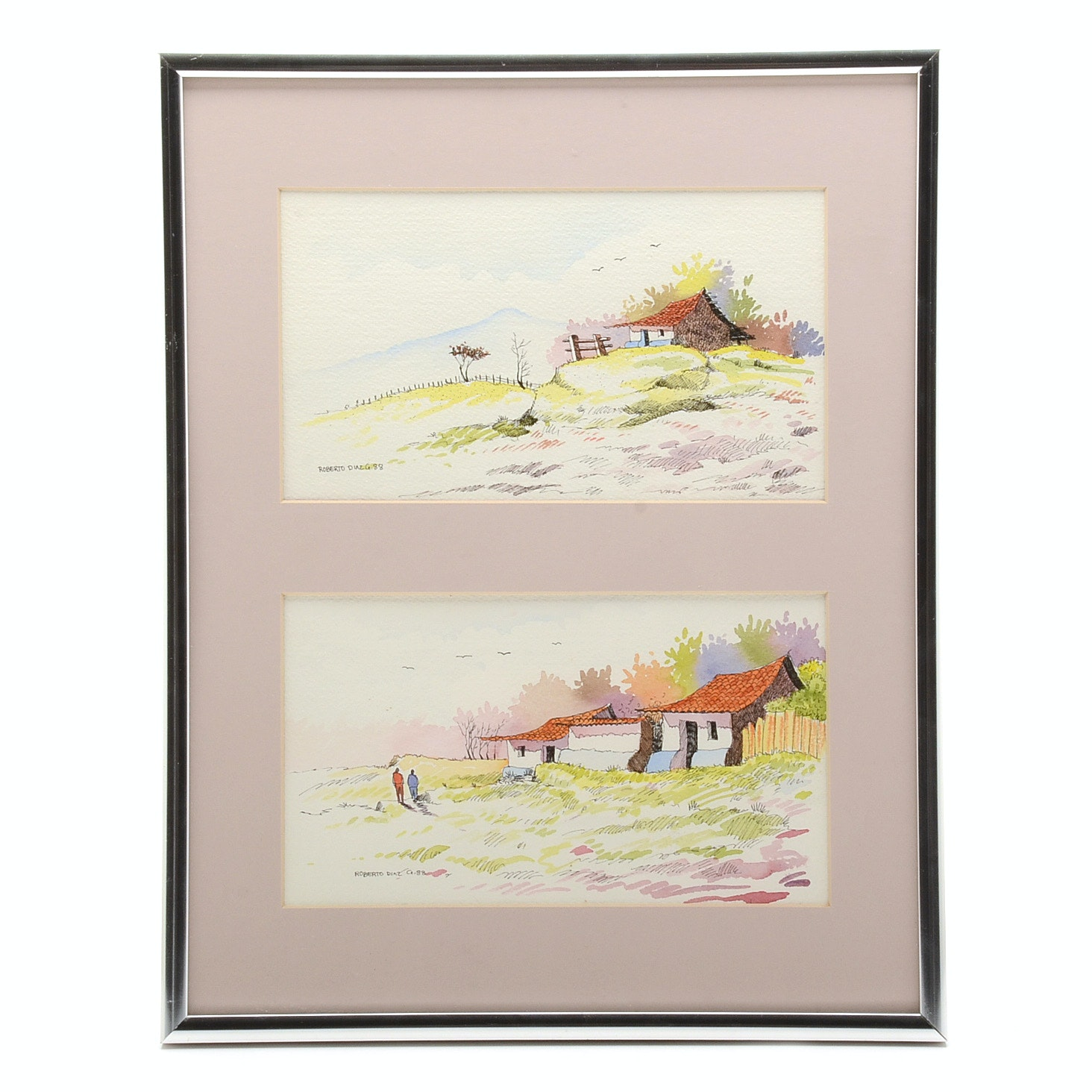 Roberto Diaz Signed Watercolor Diptych