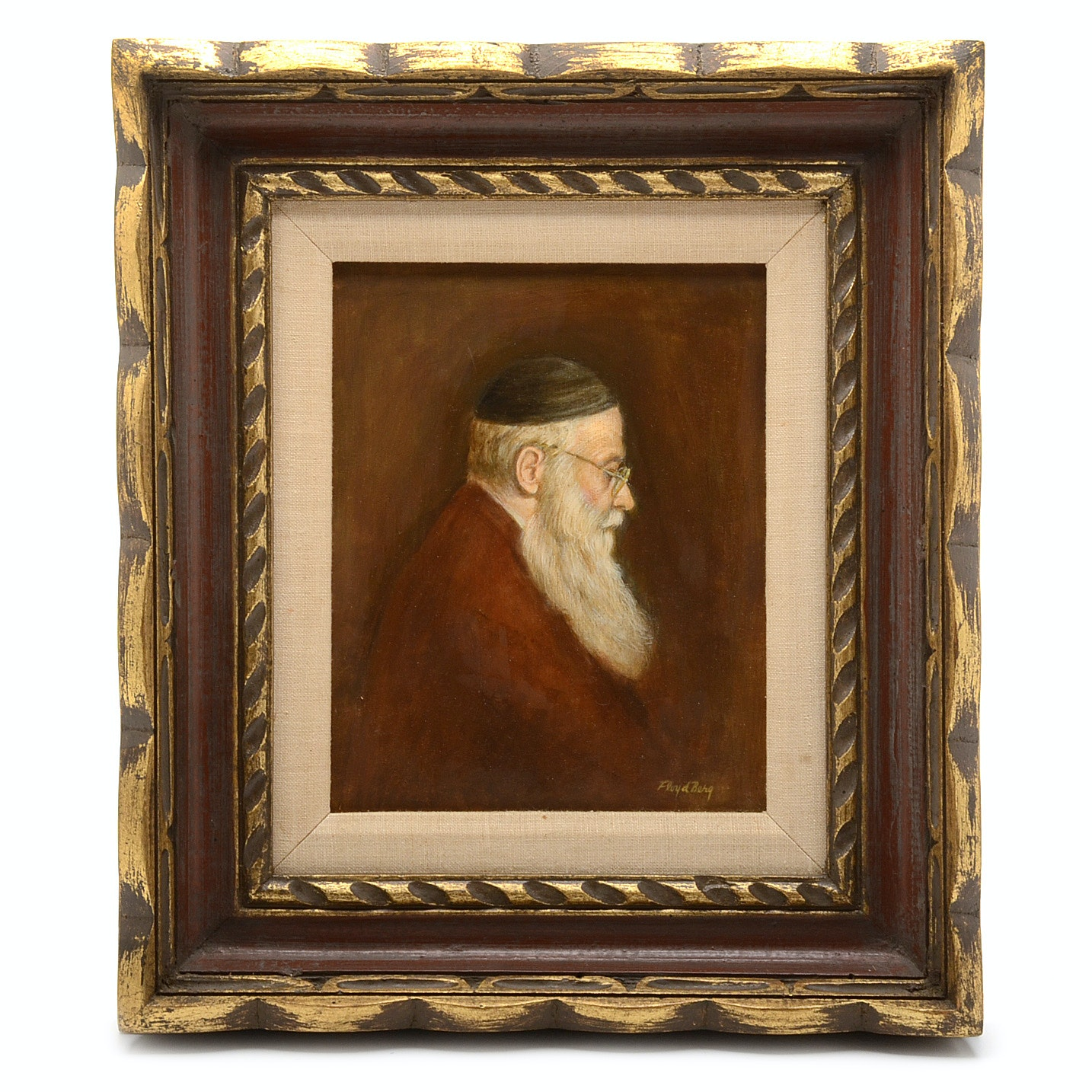 Floyd Berg Signed Oil Painting on Board of a Man in Profile