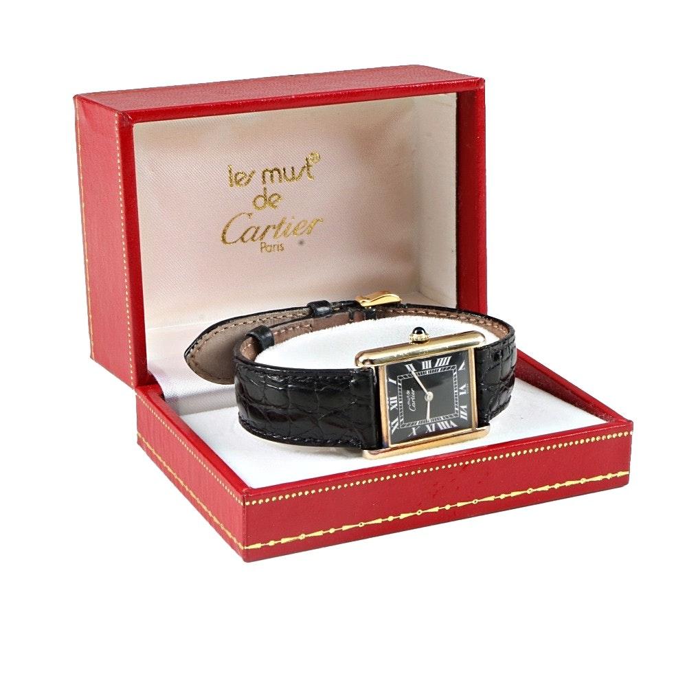 Les Must de Cartier Vermeil Wristwatch in Original Box