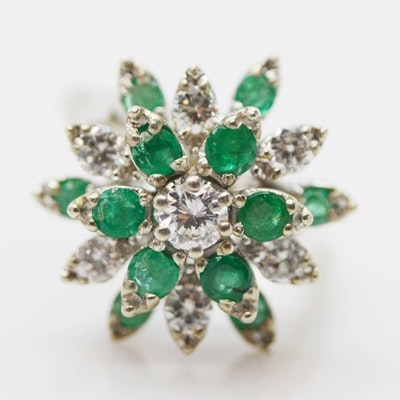14K White Gold Emerald and Diamond Cocktail Ring