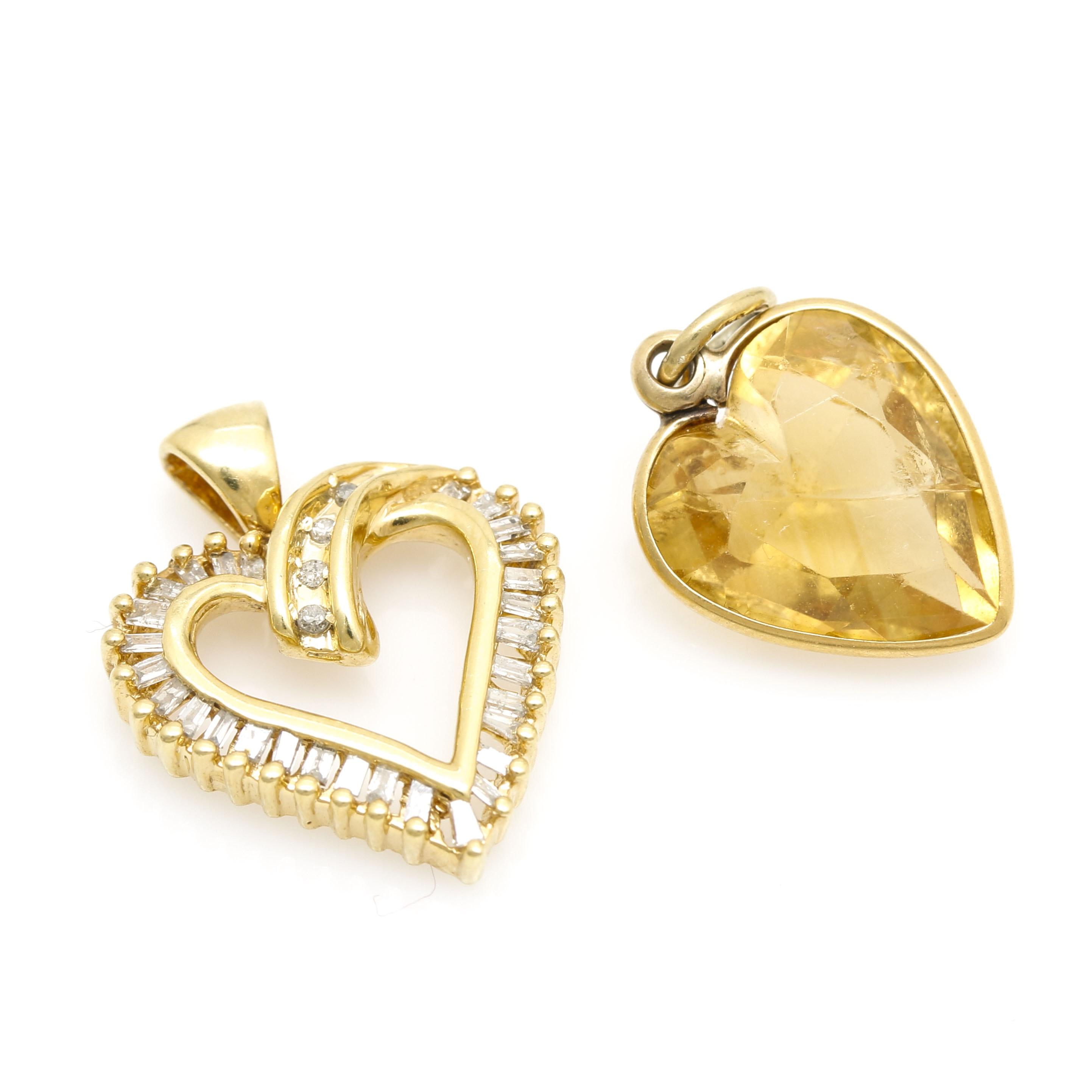 10K Yellow Gold Citrine and Diamond Heart Pendant Assortment
