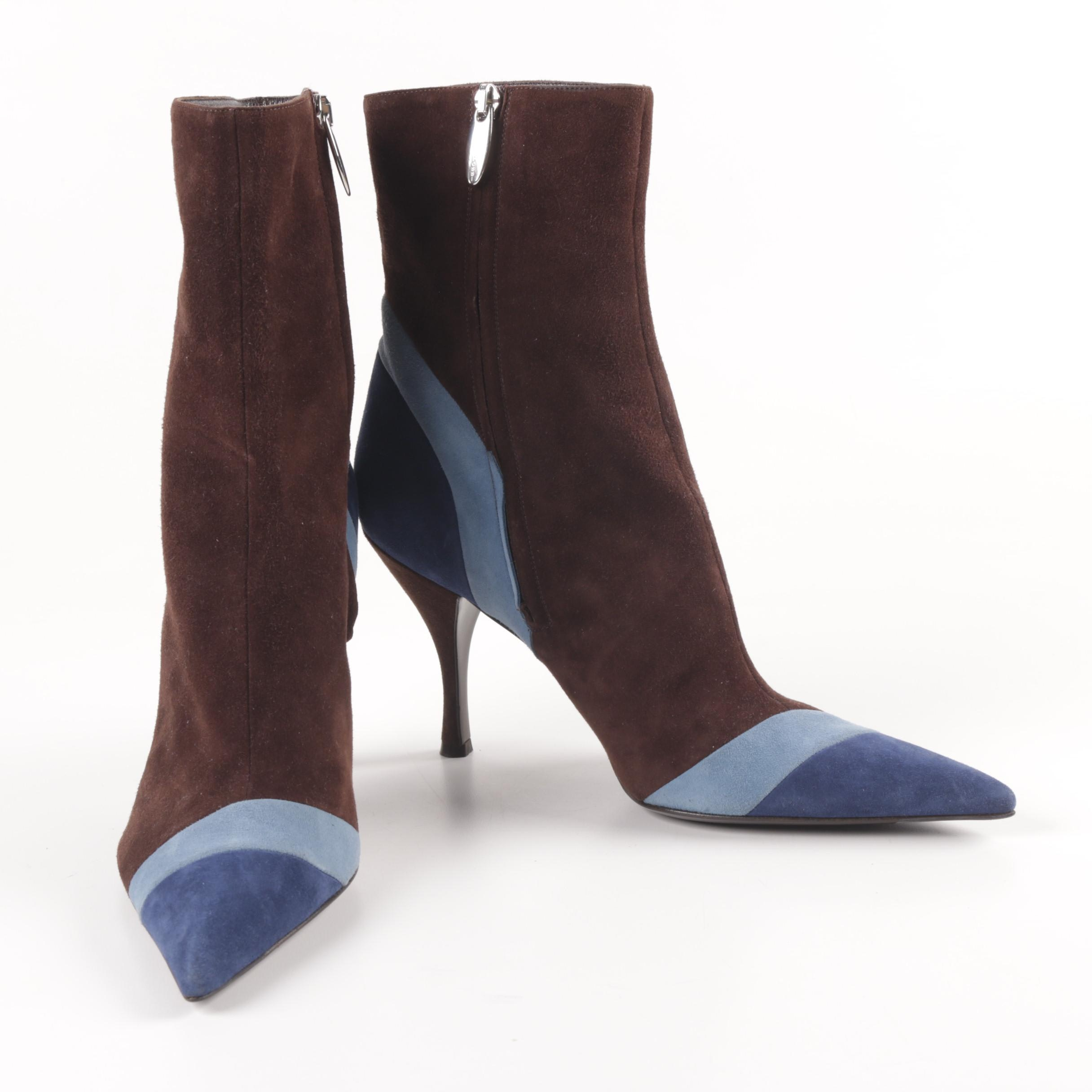Sergio Rossi Suede Pointed Toe Ankle Boots