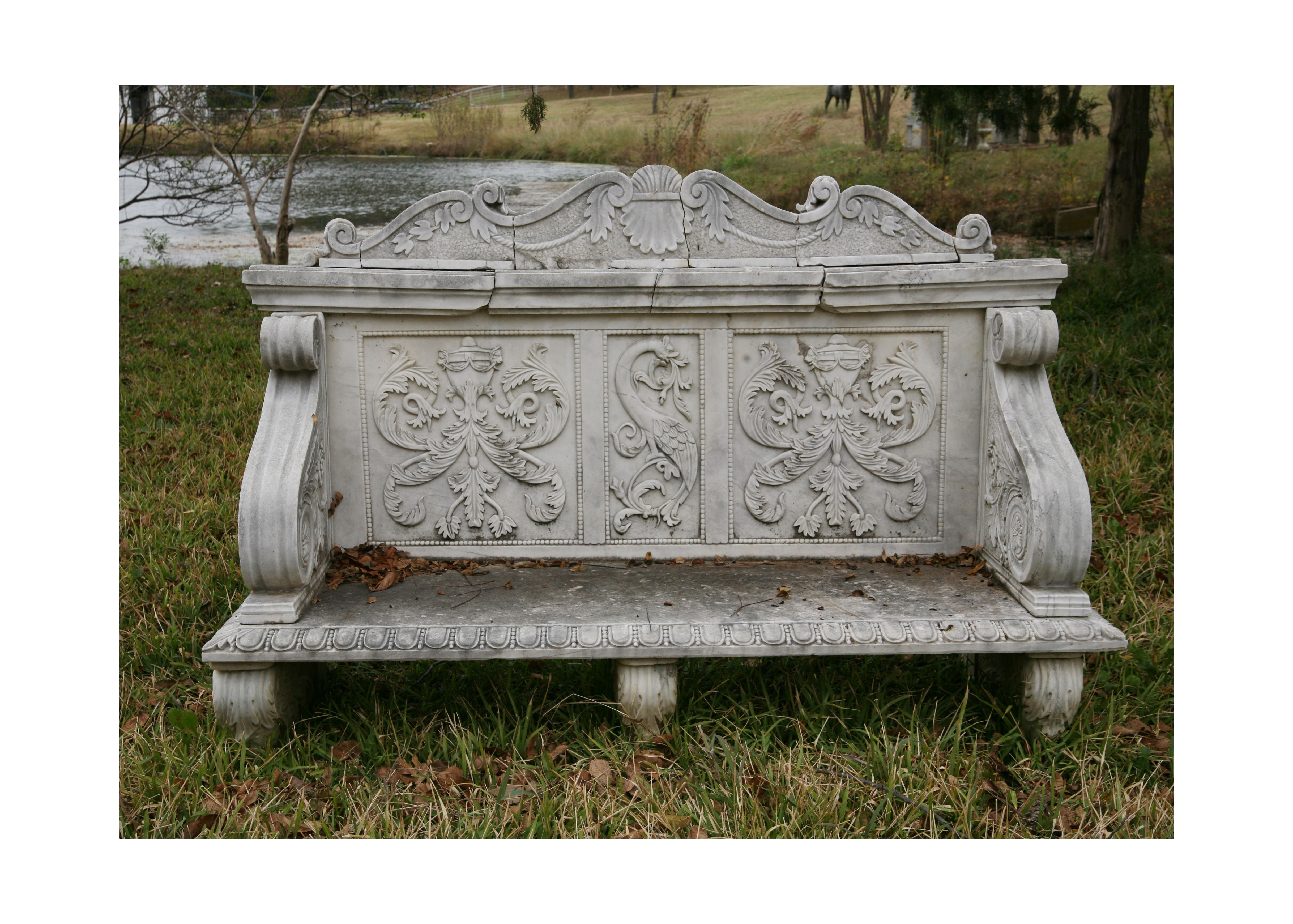 Sculpted Marble Bench