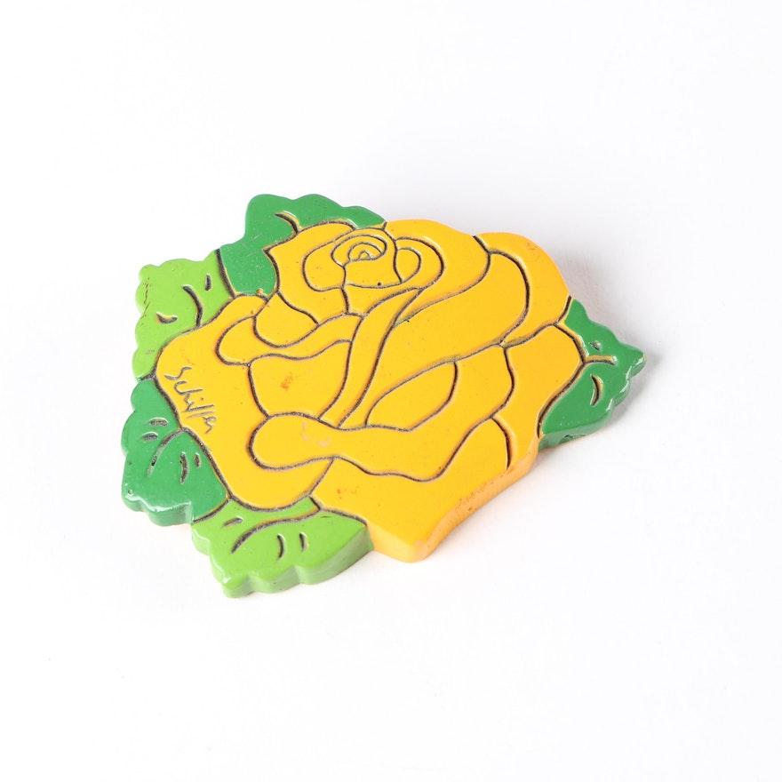 Circa 1973 Vintage Bill Schiffer Artisan Flower Brooch