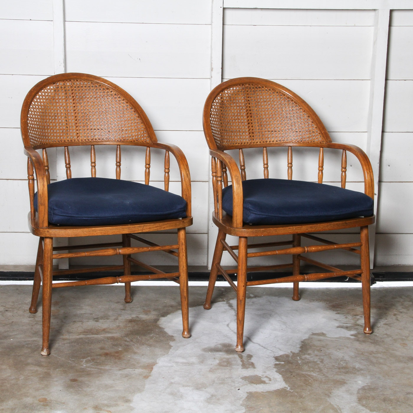 Pair of Vintage Caned Back Armchairs