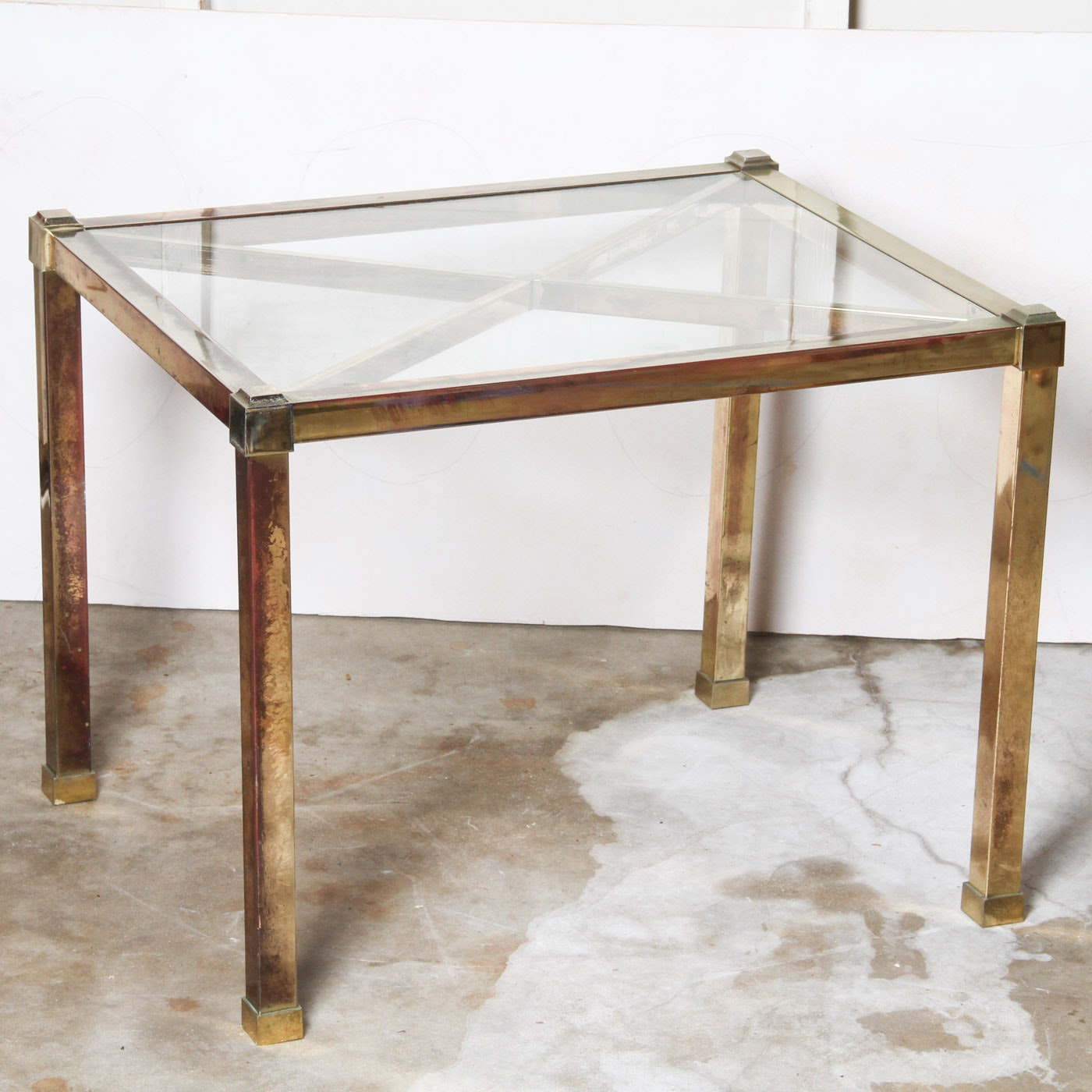 Mid Century Modern Style Brass and Glass Side Table