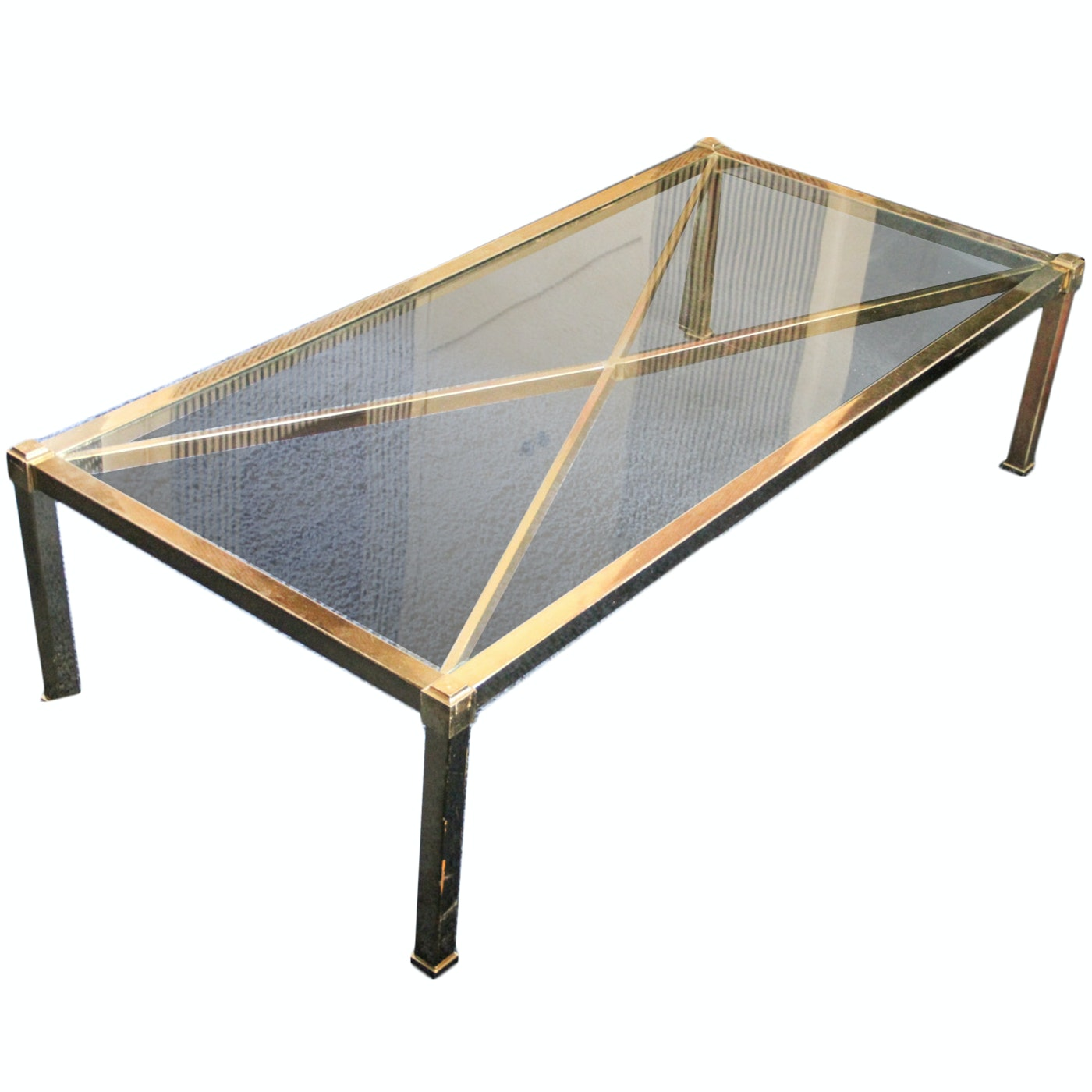 Mid Century Modern Style Brass Coffee Table with Glass
