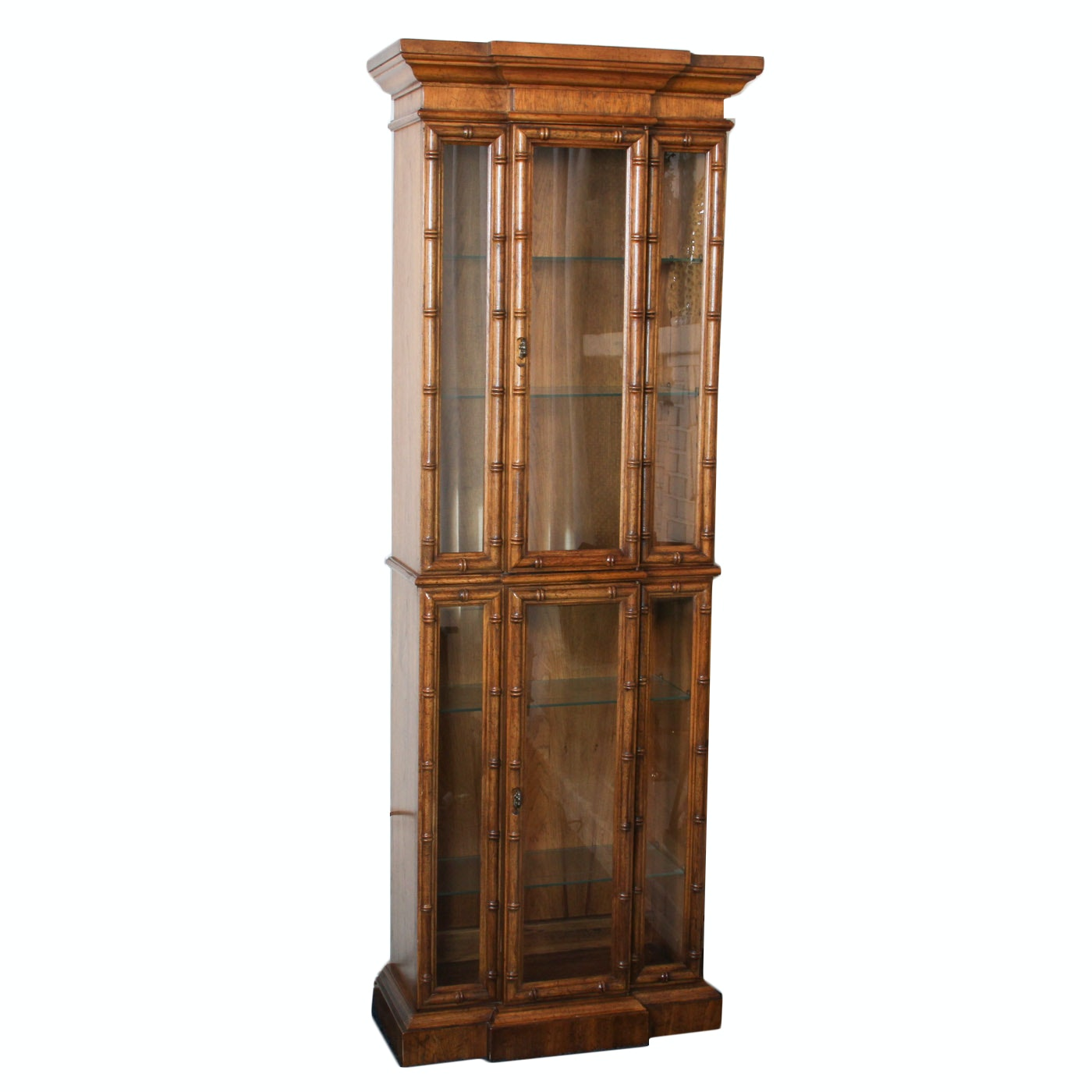 Vintage Bamboo Style Display Cabinet
