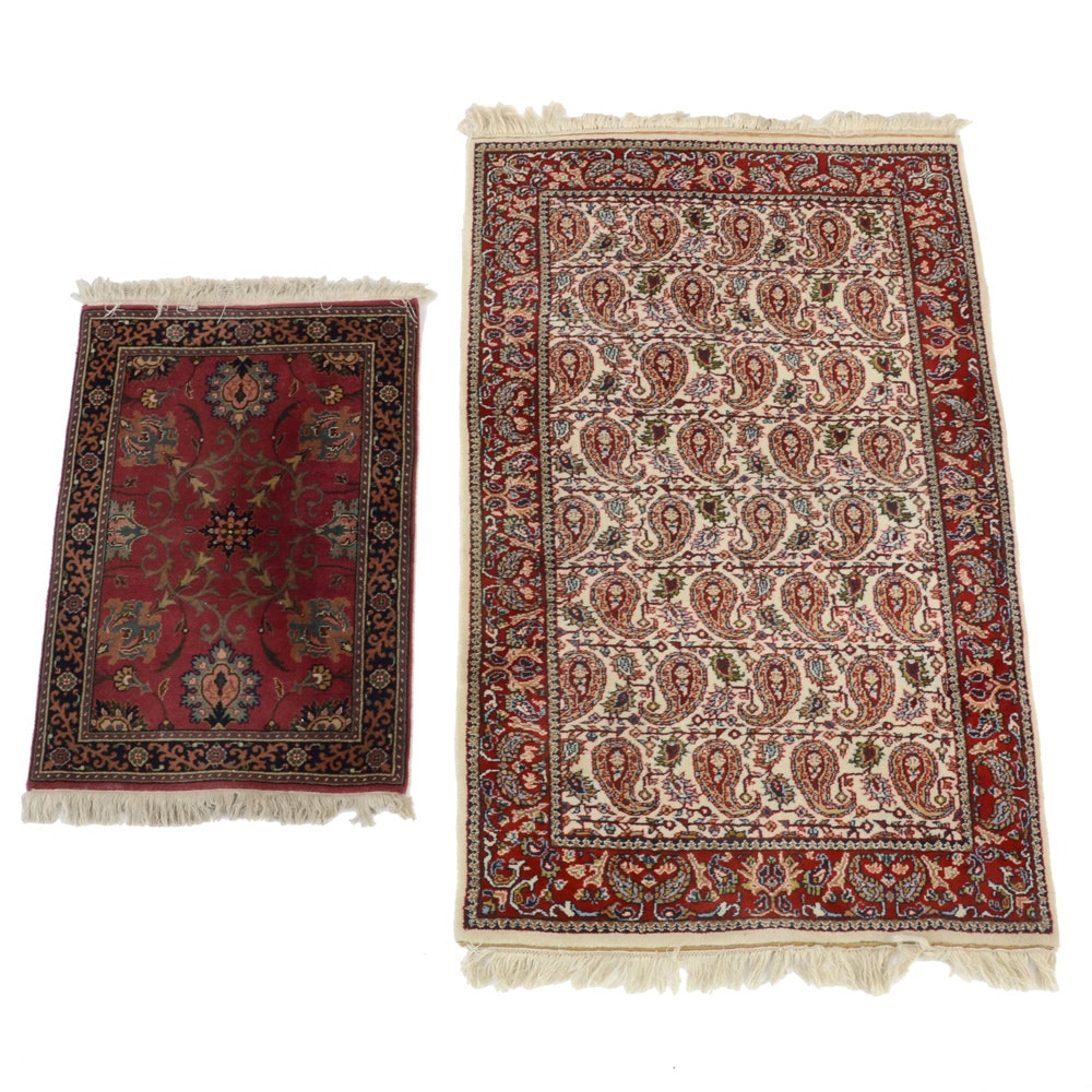 Pairing of Loomed Persian Style Wool Pile Area Rugs