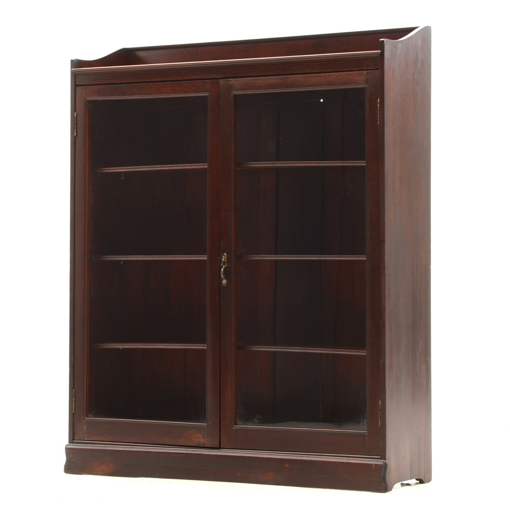 Glass Front Mahogany Bookcase