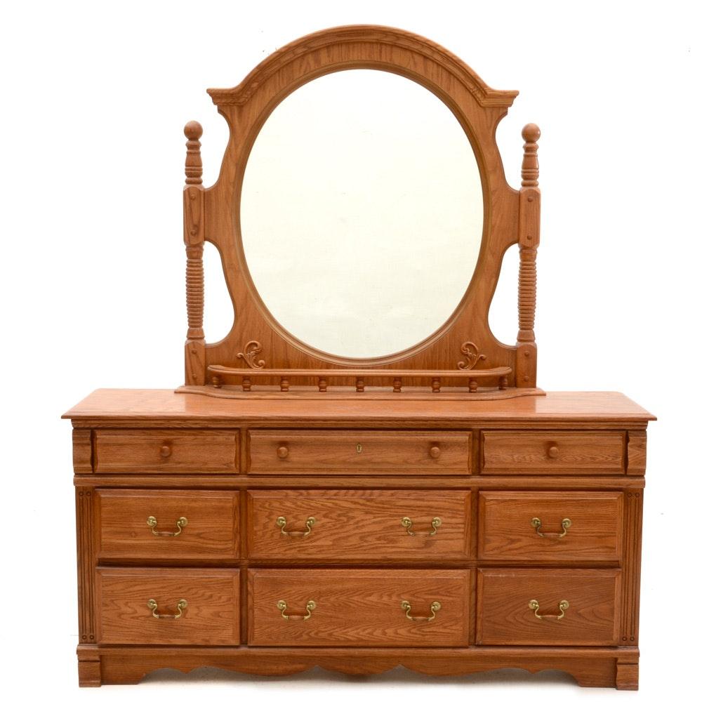 Contemporary Oak Dresser with Mirror