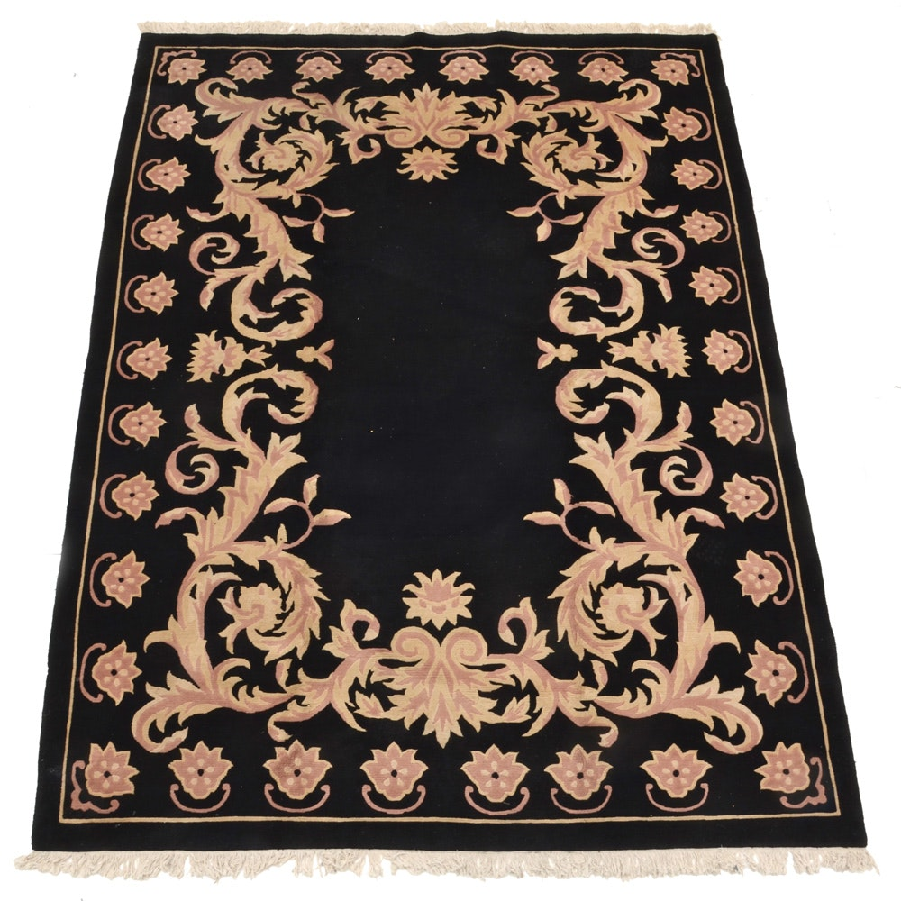 Hand Knotted Black Wool Area Rug