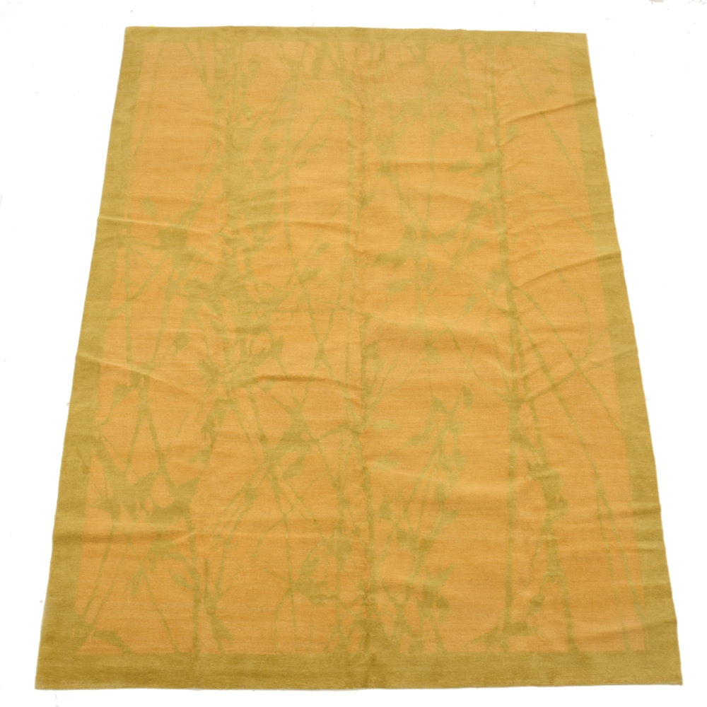 """Hand Knotted Wool and Silk """"Bamboo"""" Pattern Area Rug"""
