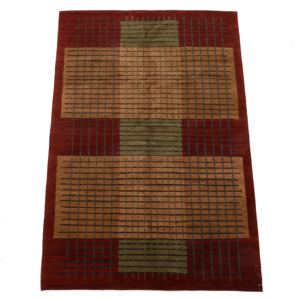 Geometric Hand Knotted Wool Area Rug By Tufenkian