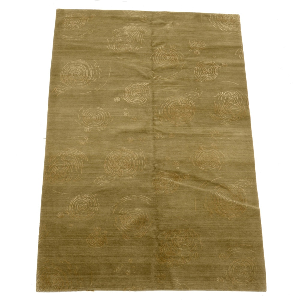 """Nepalese Hand Knotted Wool and Silk """"Carp Pond"""" Area Rug"""