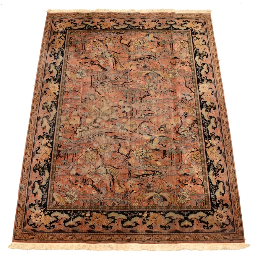 """Persian Style Wool Area Rug Ebth: MJ Whittall Anglo Persian Style """"Bird Of Paradise"""" Wool"""