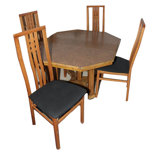 Vintage Octagonal Dining Table and Chairs