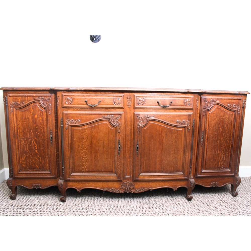 Antique French Country Parquet Top Sideboard