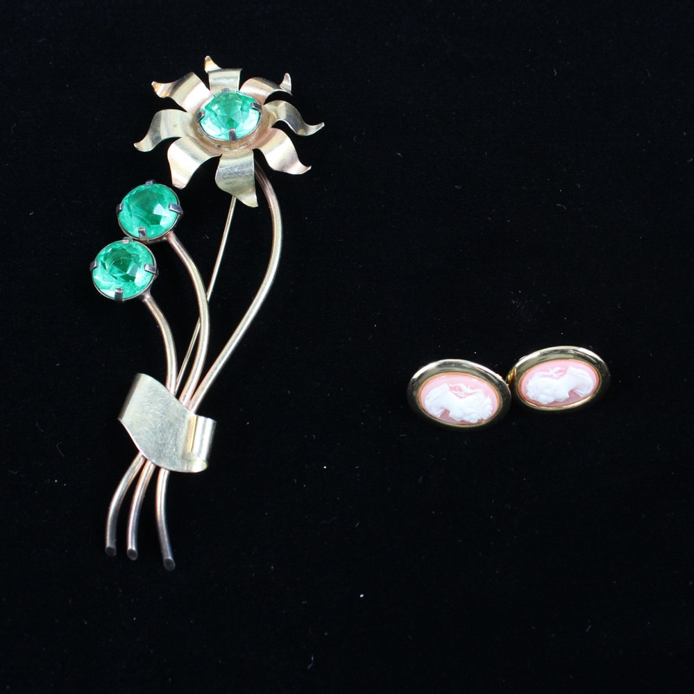 Vintage Costume Jewelry Brooch and Earrings