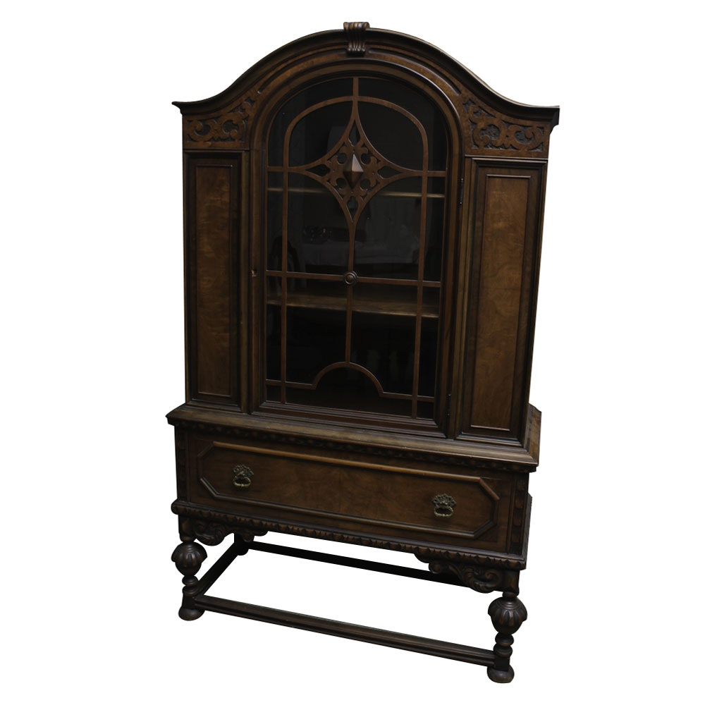 Beau Vintage Jacobean Revival Style China Cabinet By Berkey And Gay ...