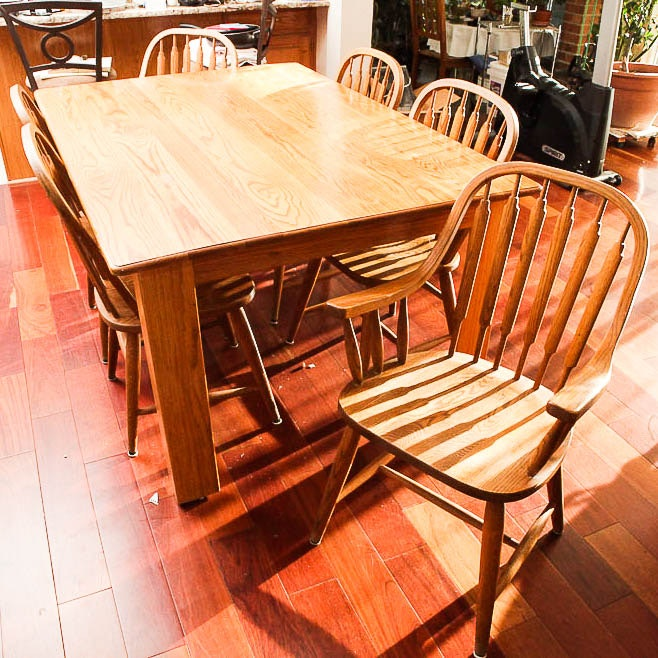 "Vintage ""Red Arrow"" Dining Table and Windsor Style Chairs"