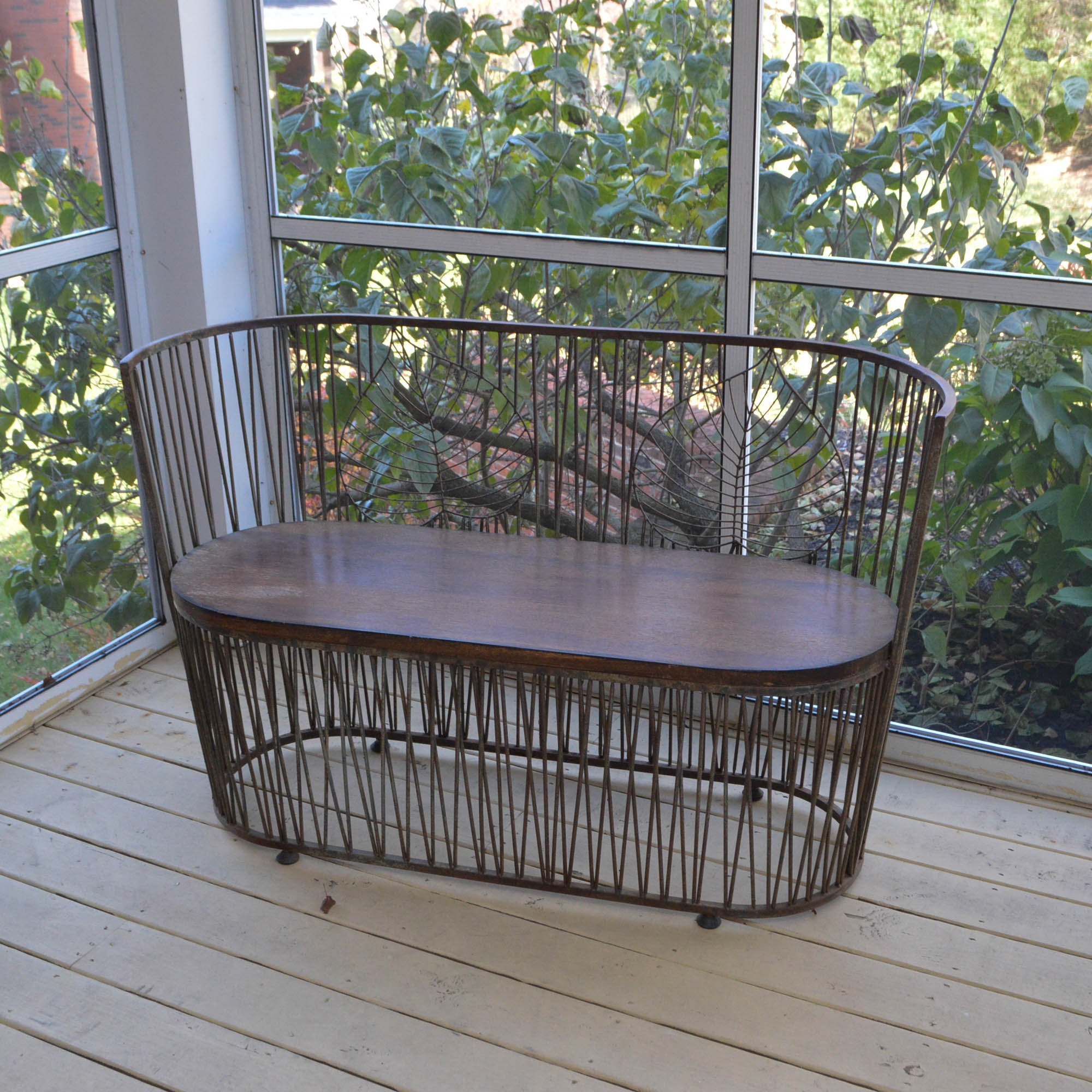 Wrought Iron & Wood Bench