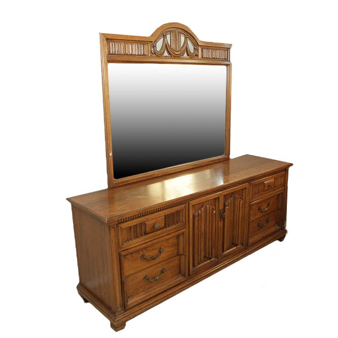 Vintage Wooden Dresser with Mirror