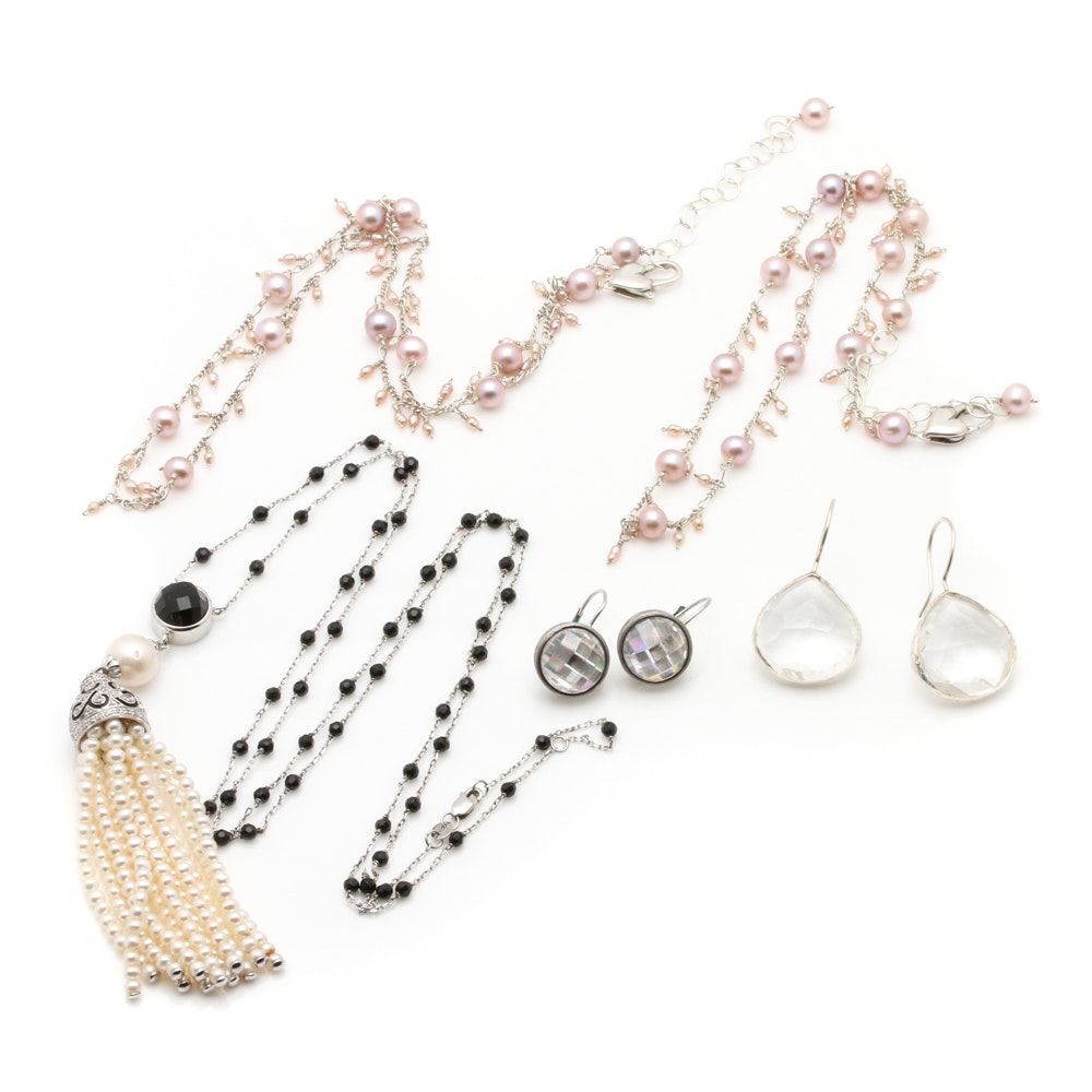 Sterling Silver Jewelry Featuring Cultured Pearls and Faceted Stones