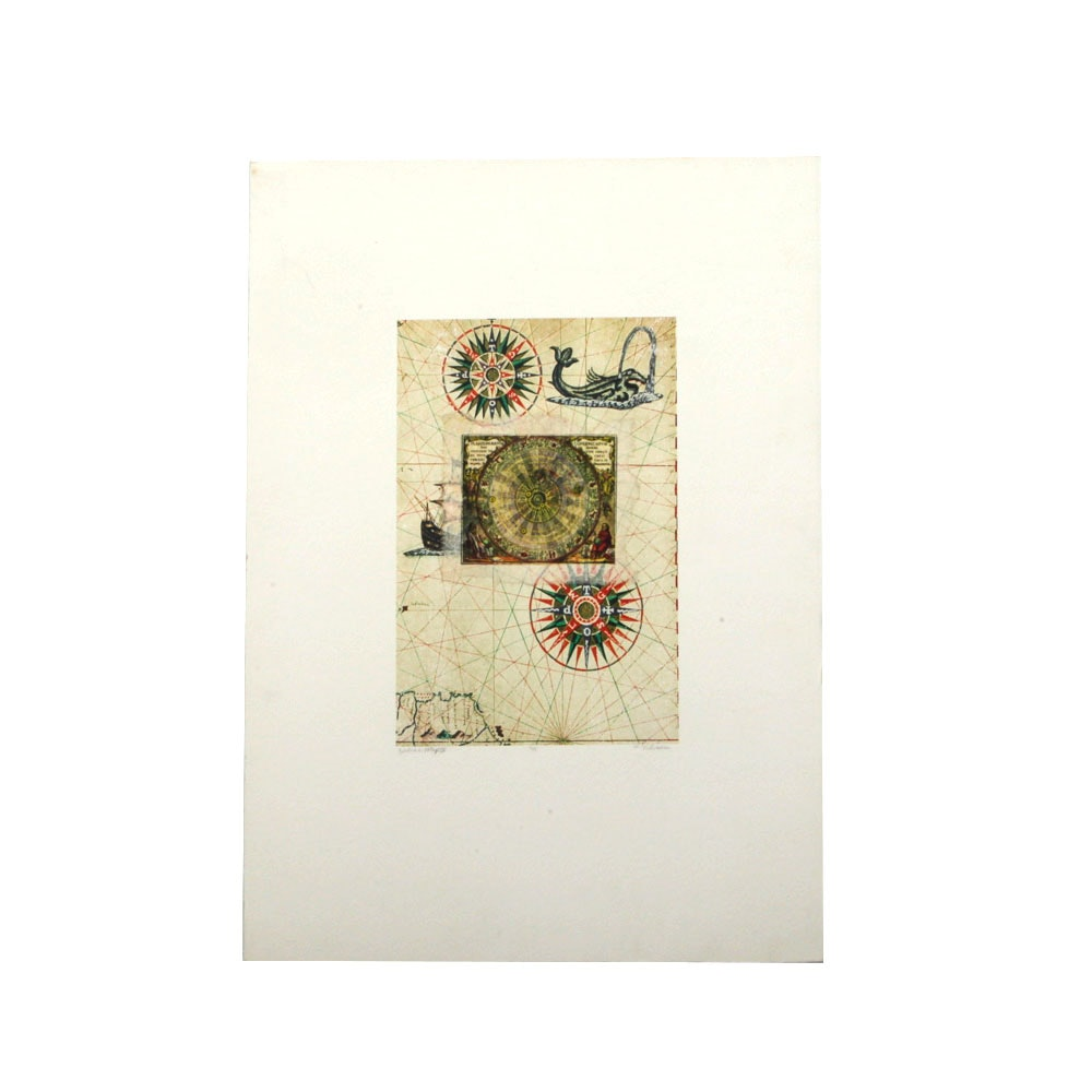 "L. Vidissa Signed Limited Edition Mixed Media Print ""Zodiac Map IV"""