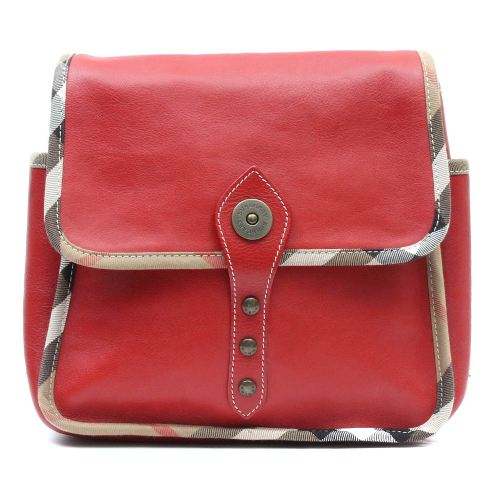 Burberry Red Leather Backpack Purse