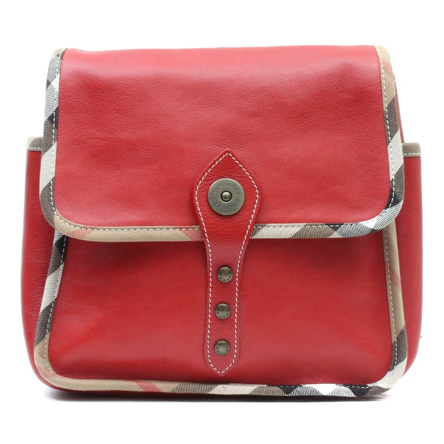 8b73f87fc156 Burberry Red Leather Backpack Purse   EBTH