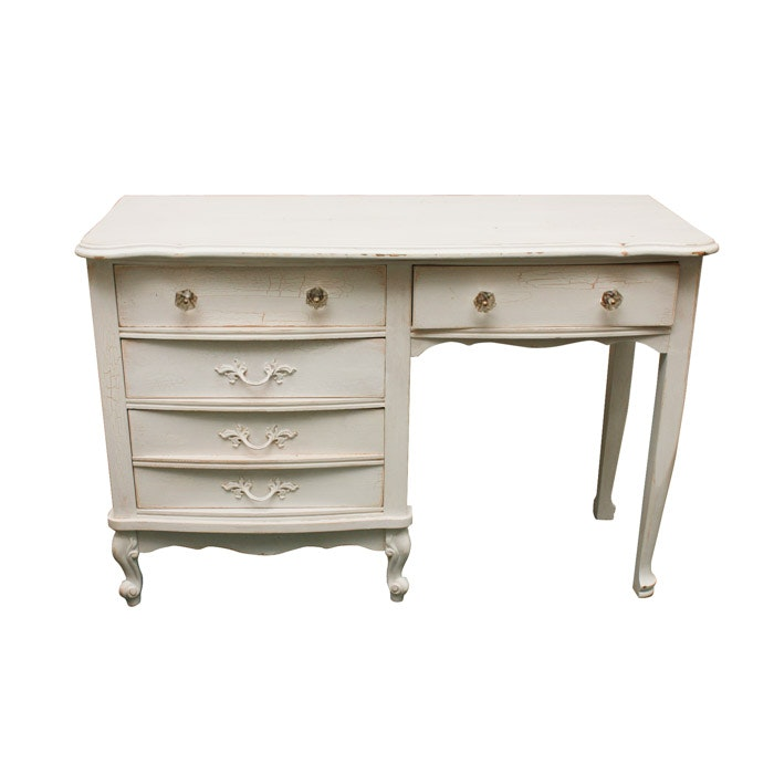 White Painted Louis XV Style Desk