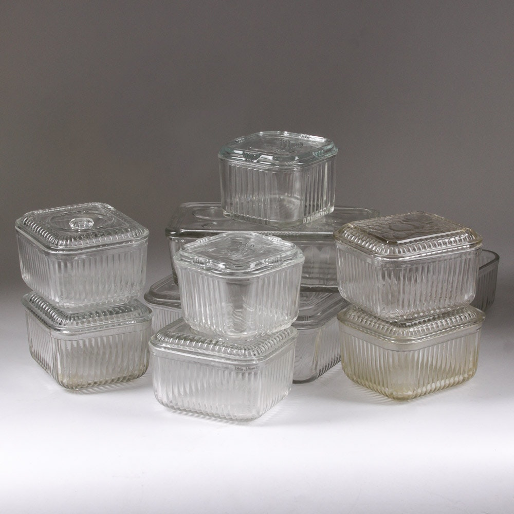 Collection of Vintage Fluted Glass Refrigerator Storage Containers