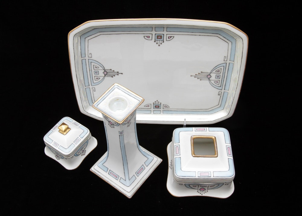 Antique 1917 Limoges Art Deco Signed Hand-Painted Vanity Dresser Set
