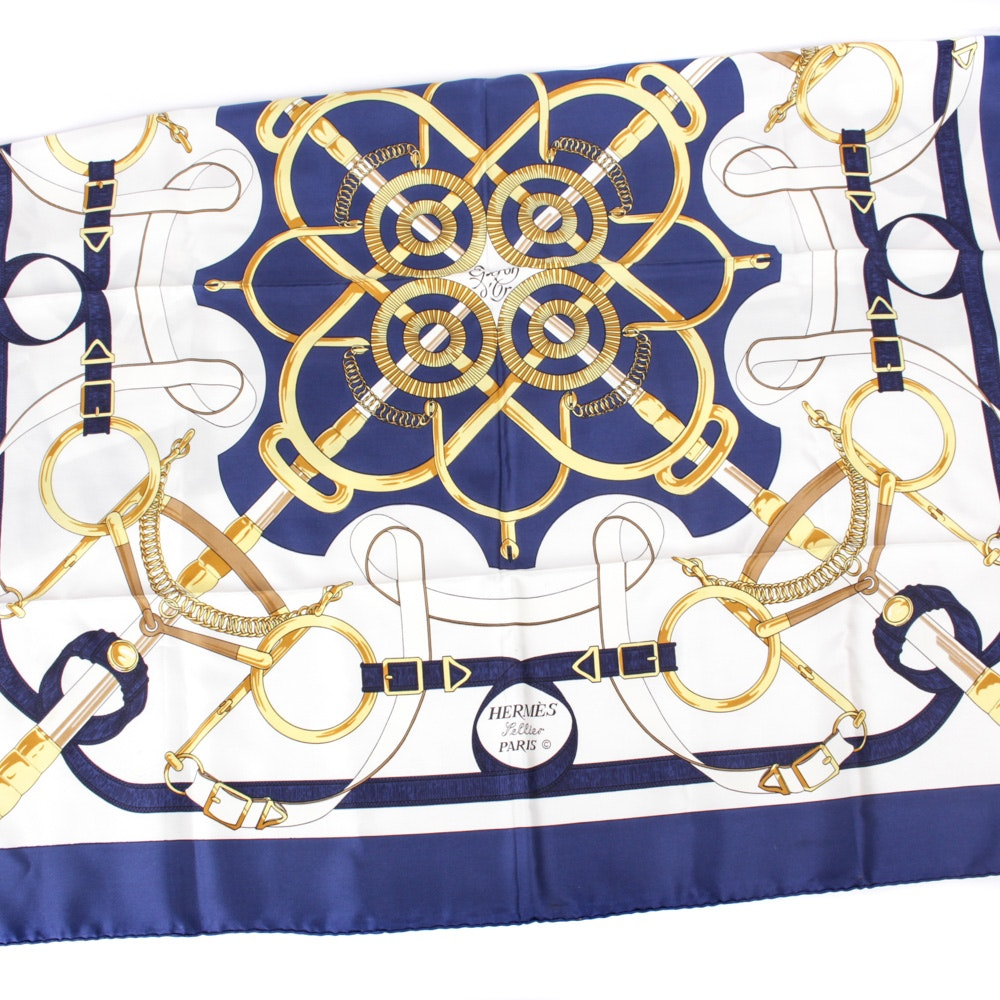 "Hermes of Paris ""Eperon d'Or"" Silk Scarf"