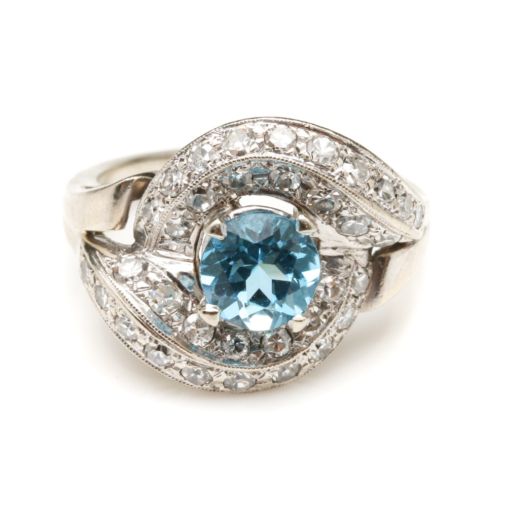 14K White Gold Blue Topaz and 1.00 CTW Diamond Bypass Ring