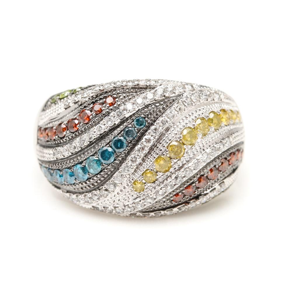 14K White Gold 1.07 CTW Multi-Color Diamond Ring